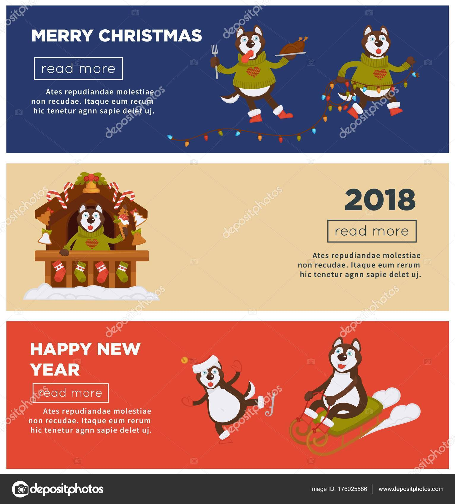 Beautiful Merry Christmas And Happy New Year 2018 Dog Cartoon Greeting Web Banners  Design Template. Dog Funny Character Celebrating Holidays With Xmas Tree  Decoration ...