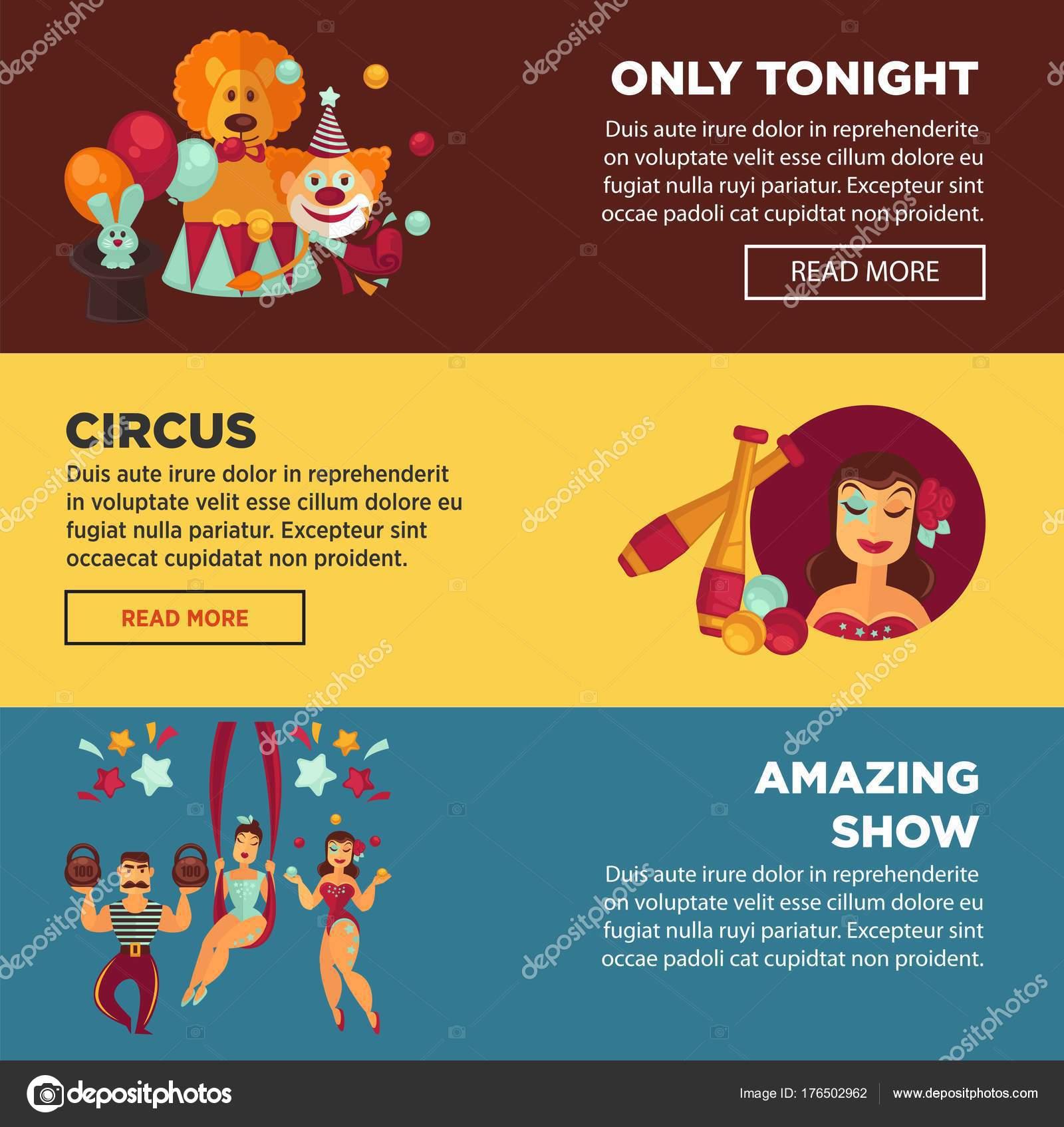 Zirkus mit erstaunlichen zeigen Werbung Webseiten Vorlagen ...