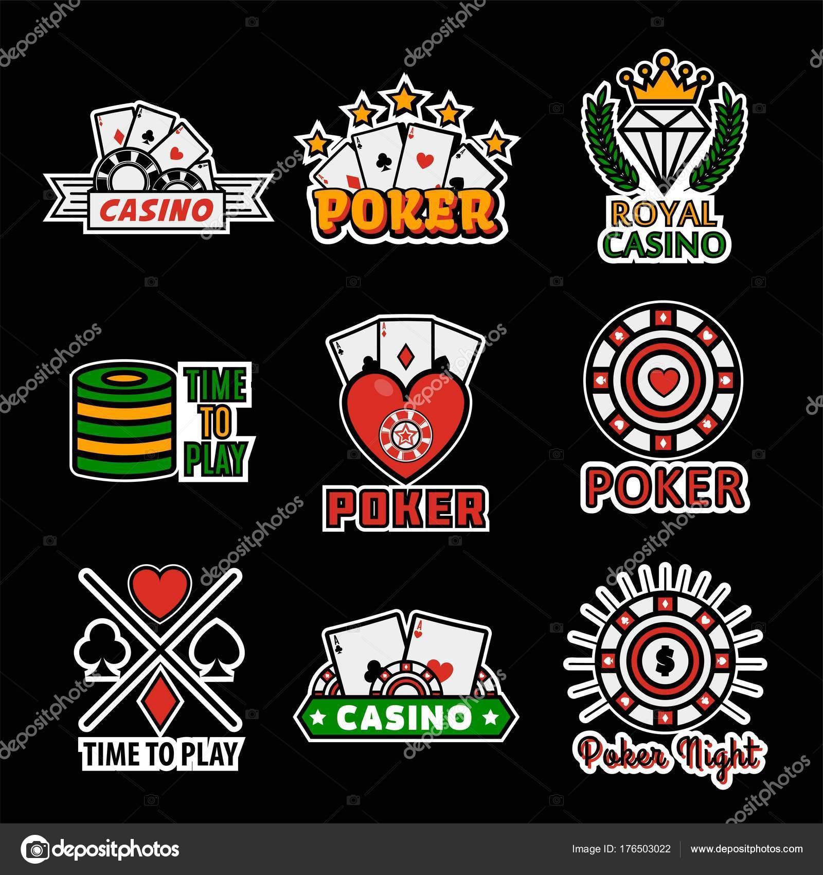 Casino Poker Logo Templates Vector Set Gambling Dice Chips