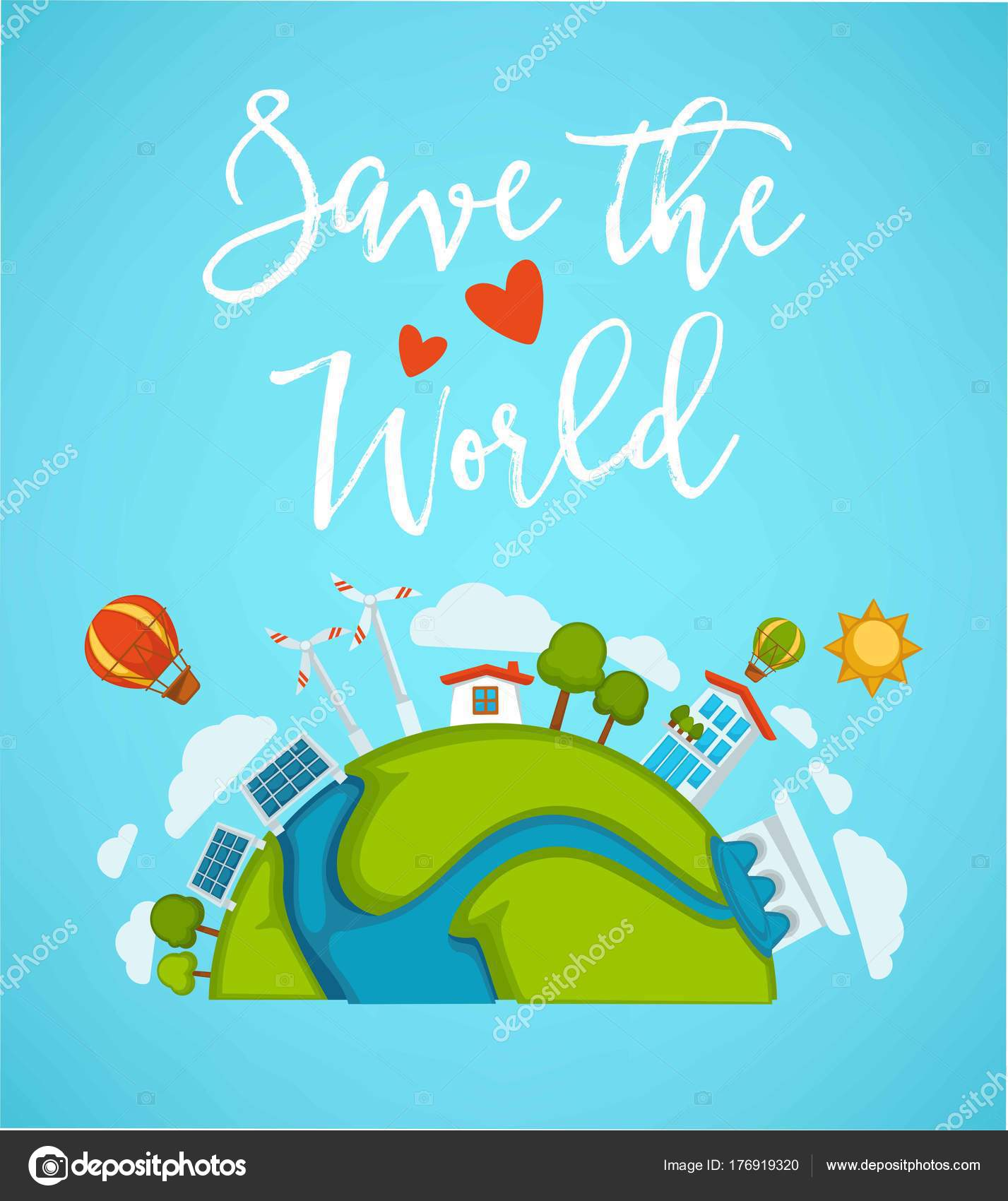 Save World Planet Or Green Earth And Eco Concept Poster Vector Design Of Environment Ecology Energy Saving For Conservation Nature