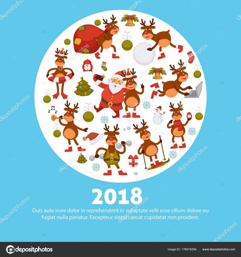 2018 Cartoon Santa Deer Poster Greeting Card Design Template ...