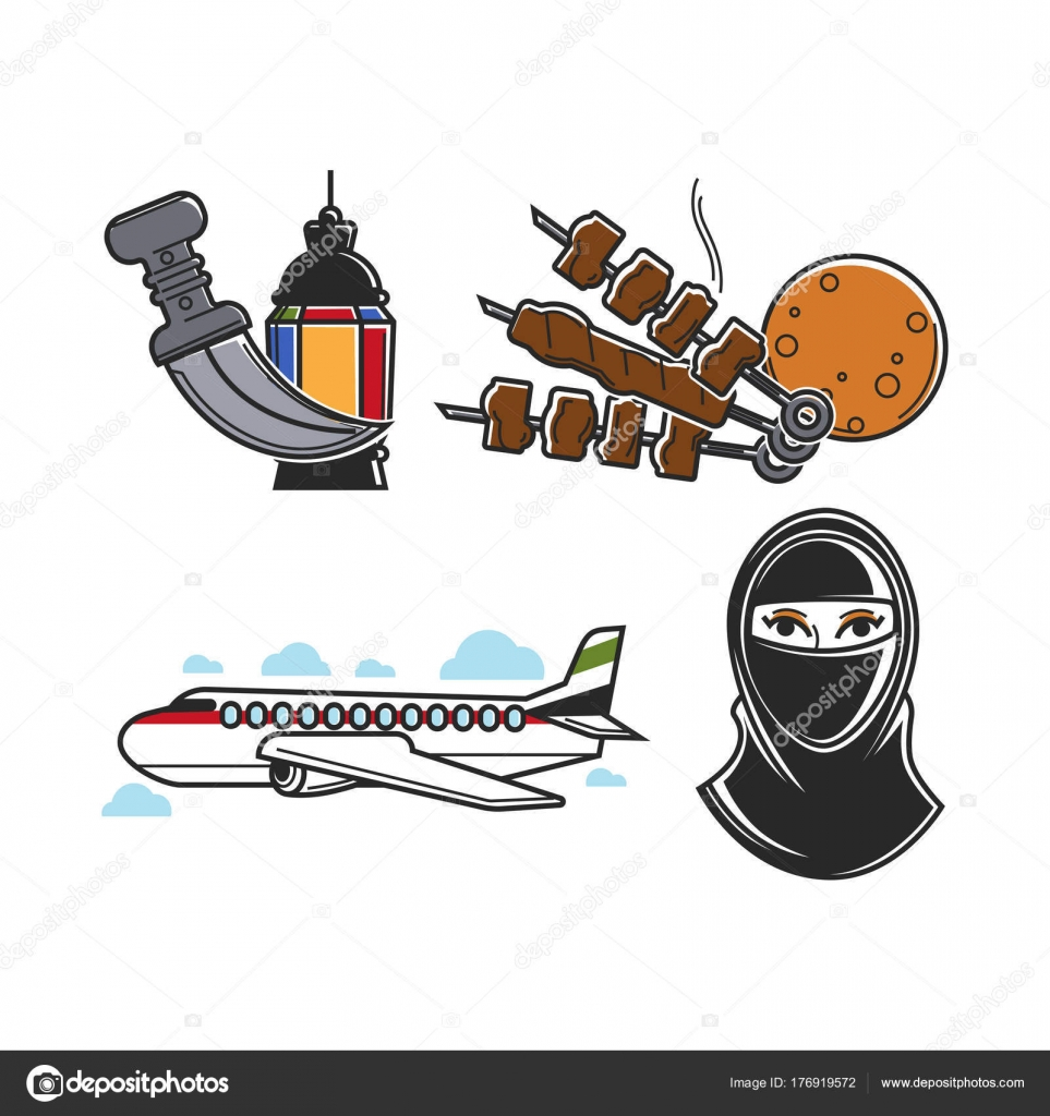 United arab emirates traditional national symbols isolated cartoon united arab emirates traditional national symbols isolated cartoon flat vector stock vector biocorpaavc Images