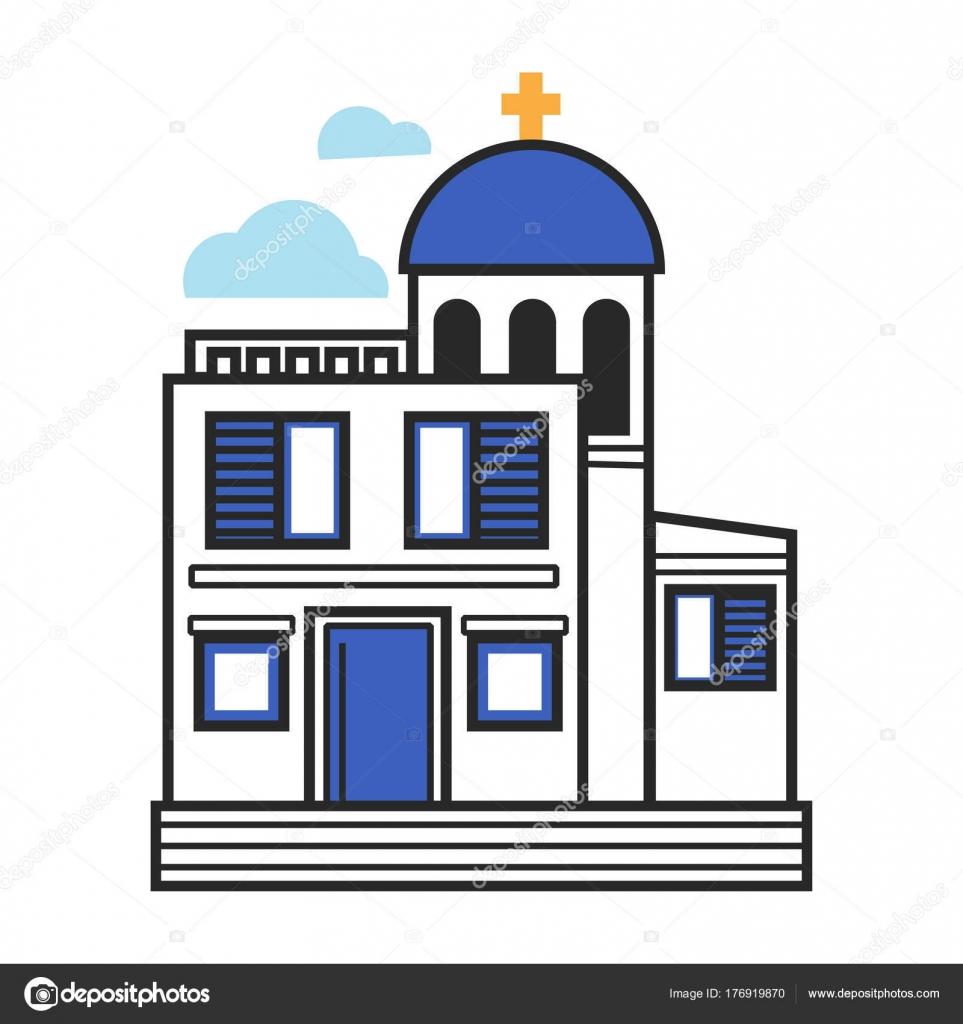 Iglesia Griega Con Paredes Blancas Marcos Azul Cruz Oro Pequeño ...