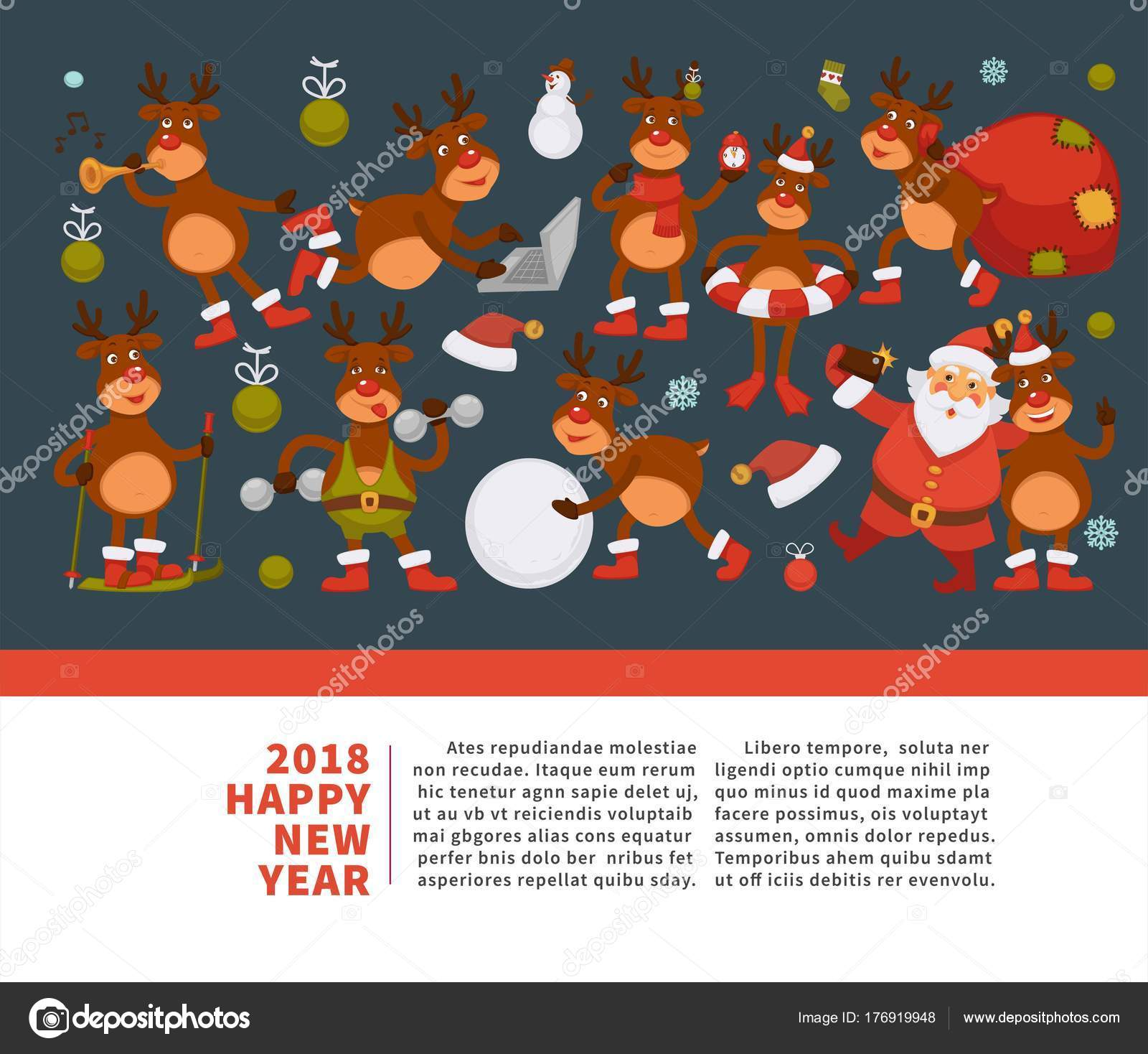Wonderful Merry Christmas And Happy New Year 2018 Banner Of Deer Or Reindeer Cartoon  Funny Character Celebrating Holidays.Greeting Card Of Dog In Santa Hat With  Xmas ...