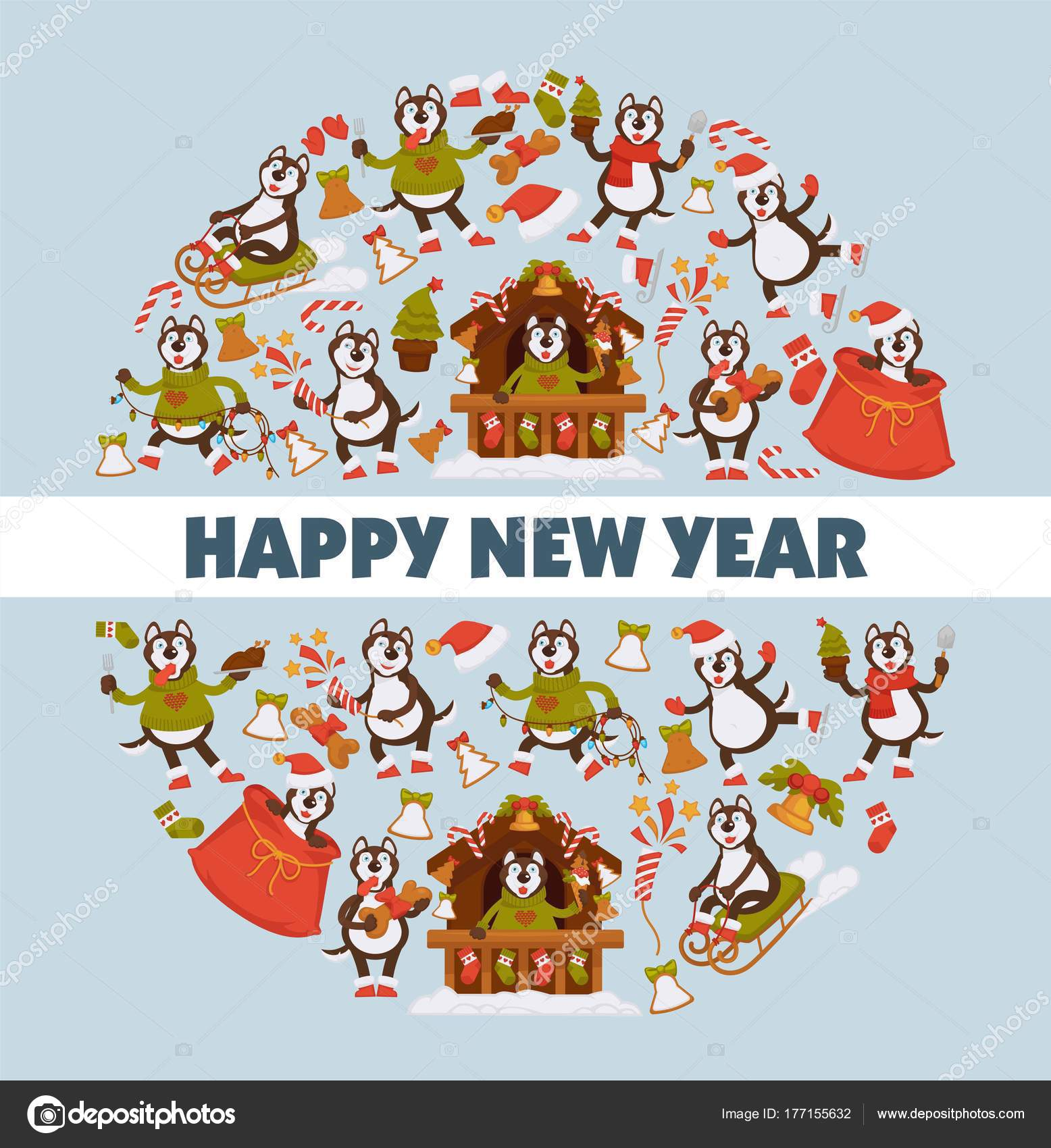happy new year 2018 cartoon dog celebrating holidays greeting card stock vector