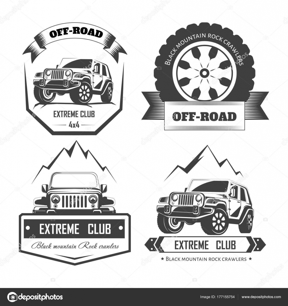 Road X Extreme Car Club Logo Templates Vector Symbols Icons - 4x4 label template