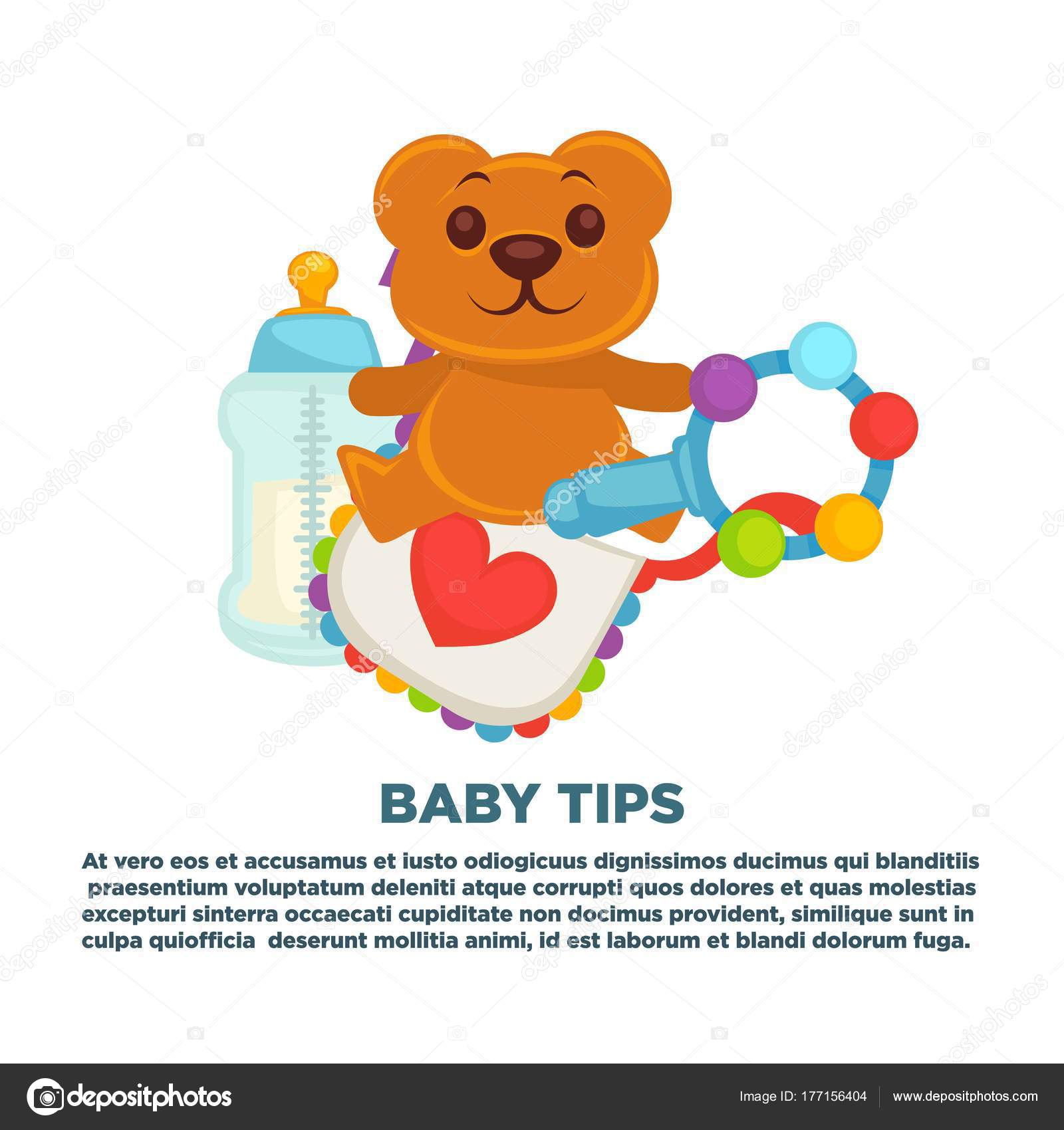 Baby shower greeting card boy girl child birth invitation poster baby shower greeting card for boy or girl child birth or invitation poster with text lettering vector baby bear toy rattle or milk bottle nipple and baby m4hsunfo