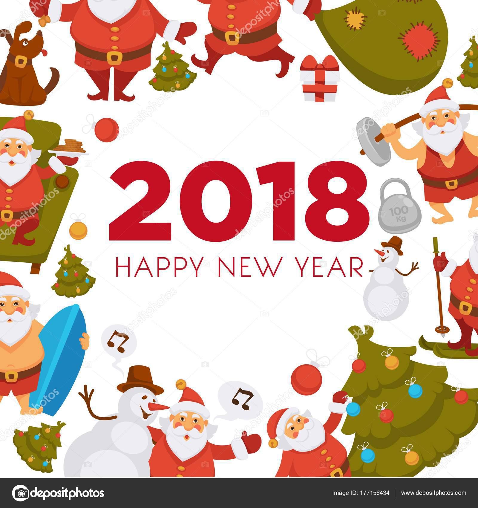 Happy New Year Cartoon Santa Celebrating Holidays Having Leisure ...