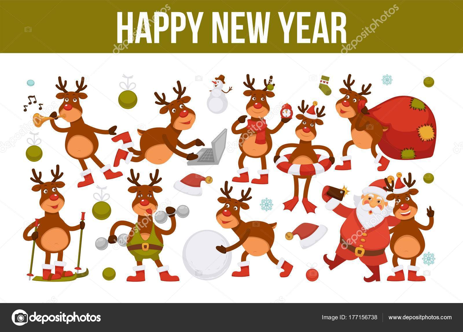 merry christmas and happy new year 2018 poster of deer or reindeer cartoon funny character celebrating holidaysgreeting card of dog in santa hat with xmas