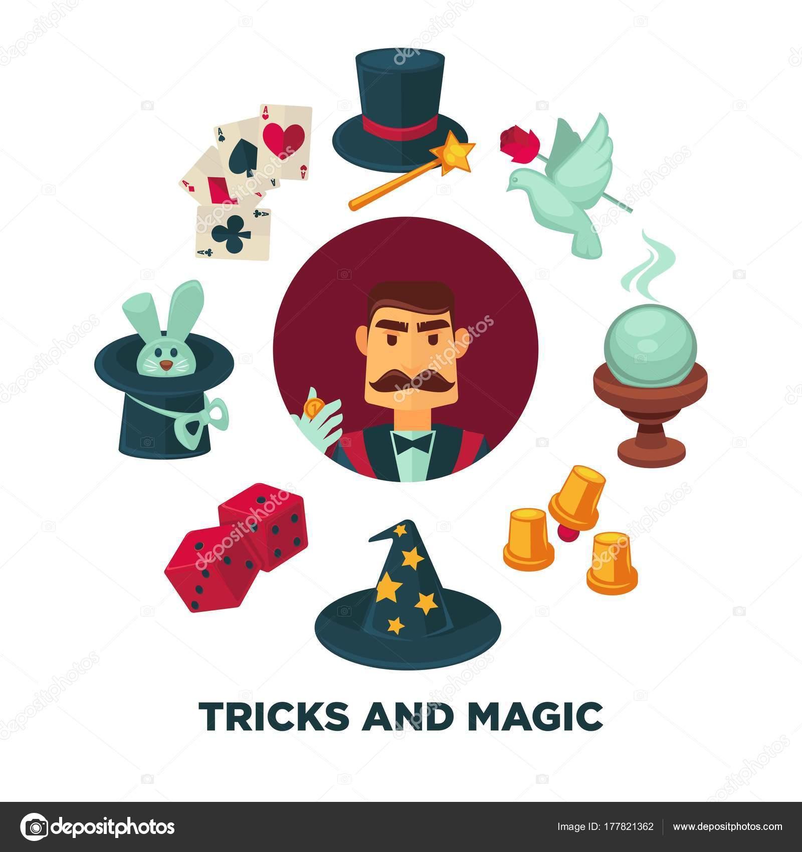 Truco y cartel promocional magia con el mago y el equipo. Conejo en el  sombrero f628f5a6dca