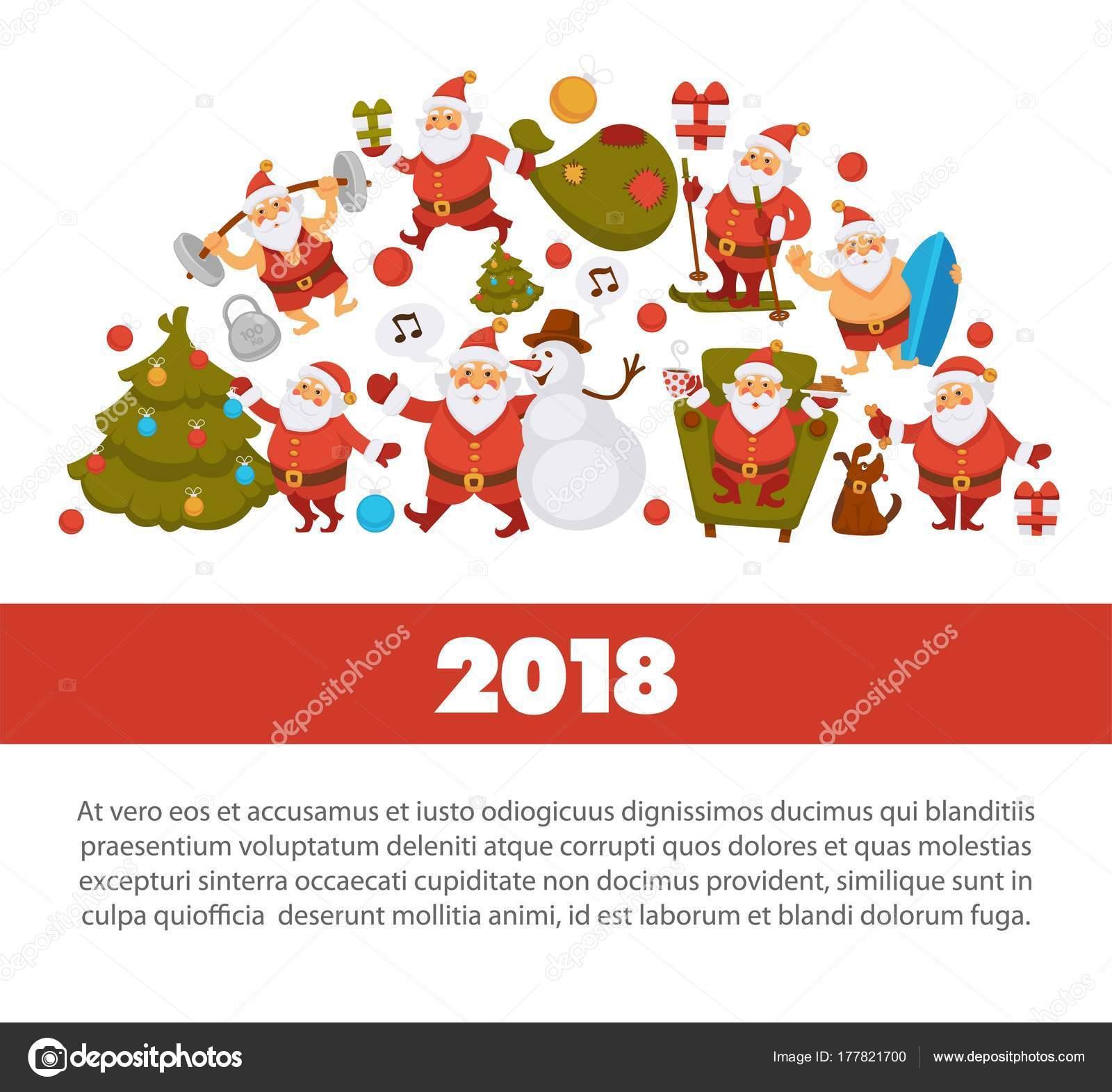 cb3a35253 ... lidových krojích, sportovní oblek a plavky, sněhulák v klobouku,  vyzdobený vánoční strom, dárkové krabičky s lukem a roztomilý pes vektorové  ilustrace.