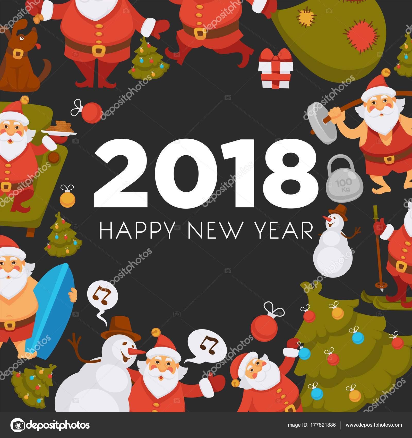 Happy New Year Cartoon Santa Celebrating Holidays Or Having Leisure Summer  Fun Icons For Greeting Card Design. Vector Funny Santa Character Decorating  Xmas, ...