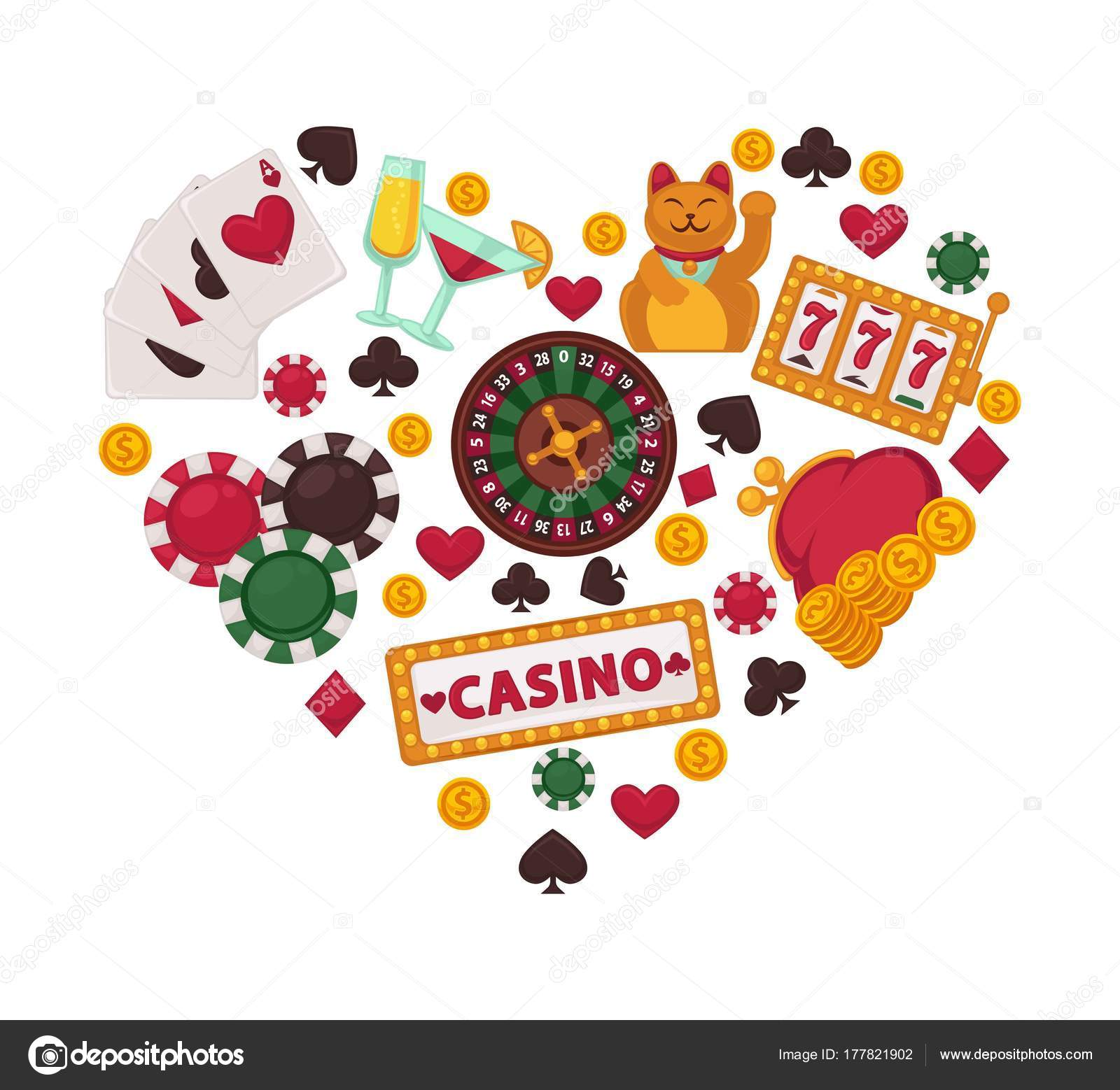 Casino Gambling Equipment Collected Heart Shape Play Cards Gold