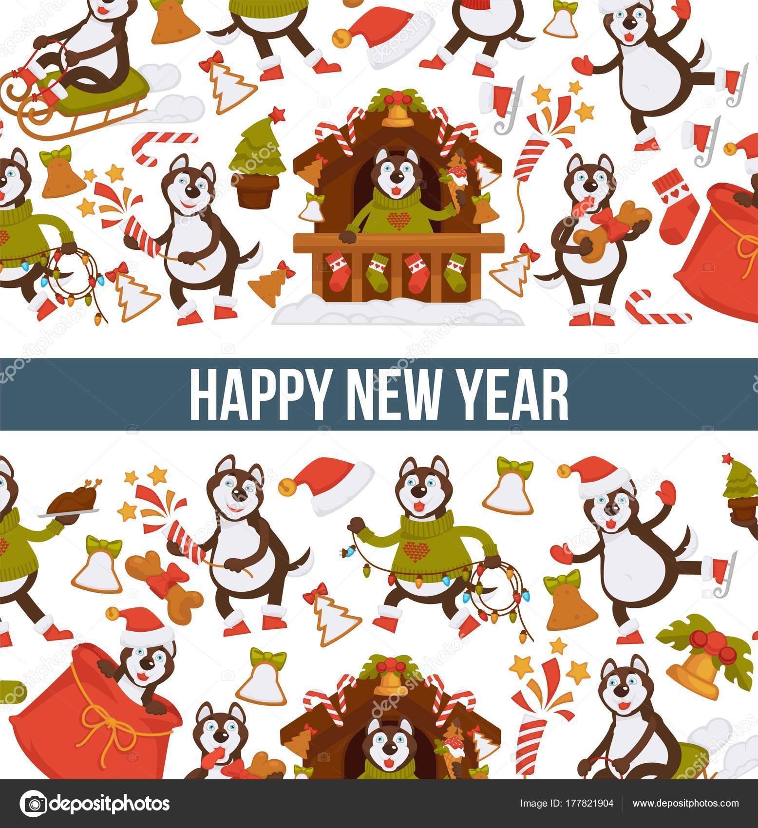 Felices Fiestas 2017 Animadas Perro Dibujos Animados Año Nuevo