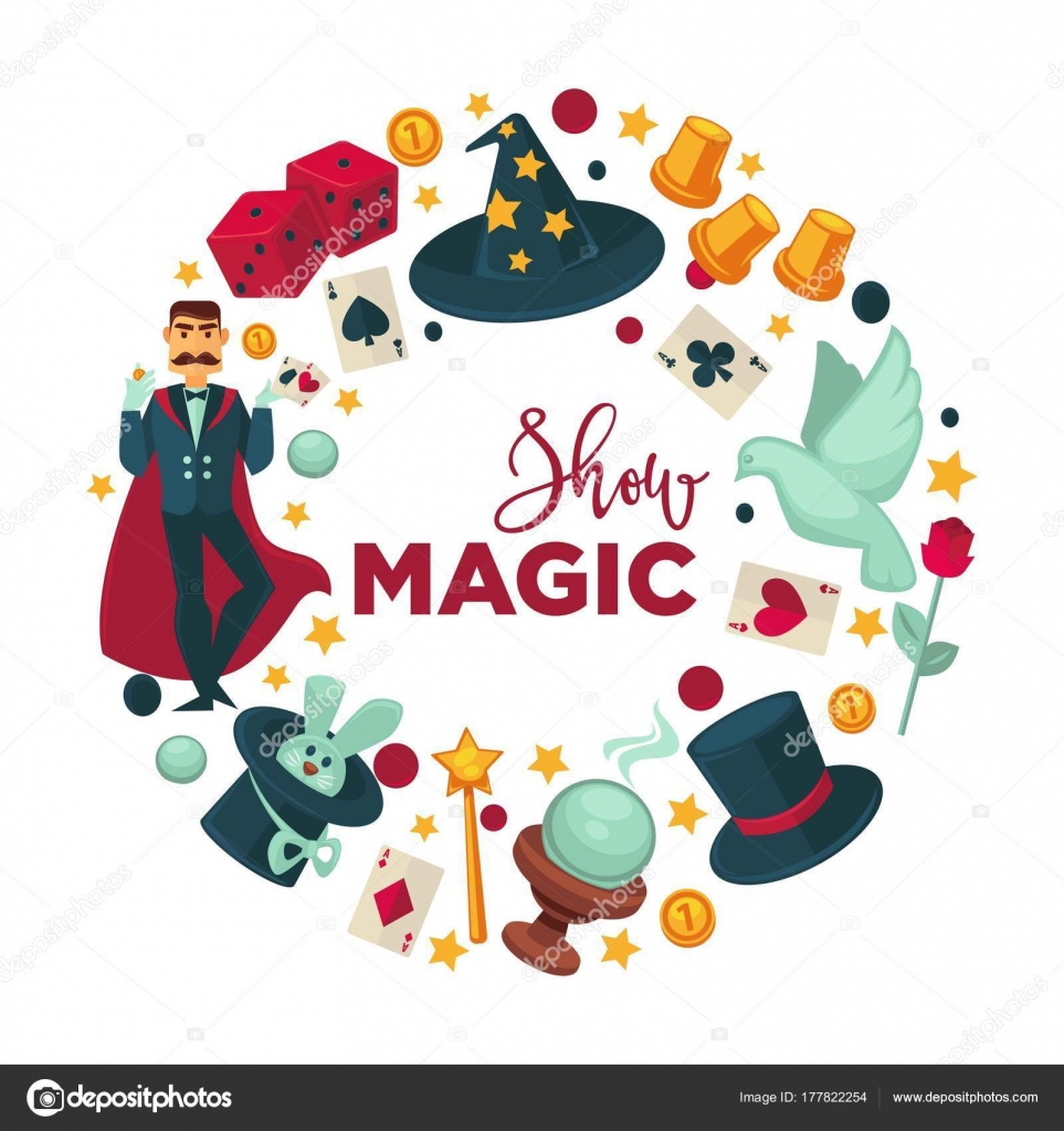 Show de magia logotipo promocional con atributos de rendimiento. Mago en  manto a174e84e945