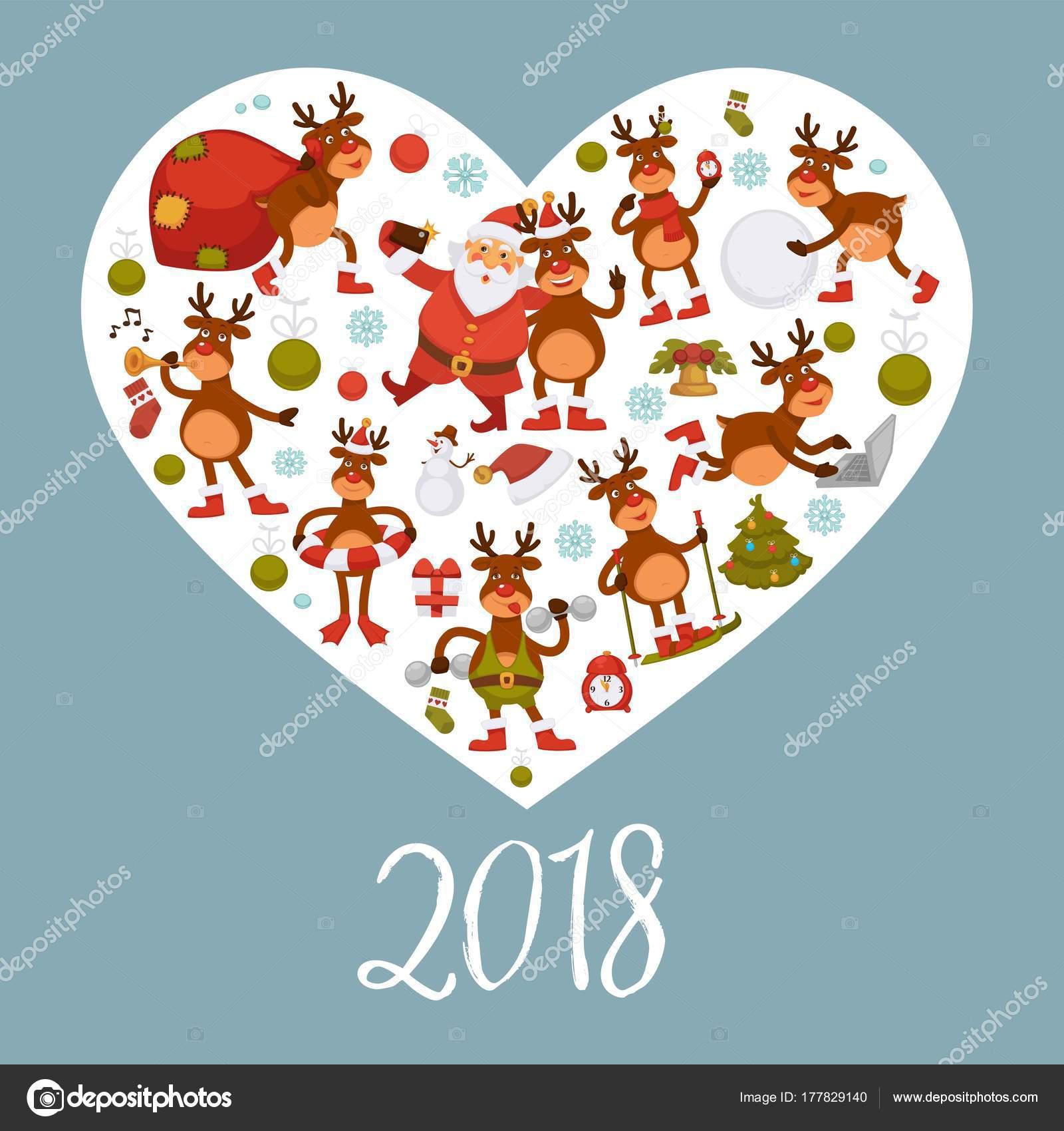 Affiche 2018 Pour Noel Nouvel Vacances Hiver Cerf Vecteur Renne