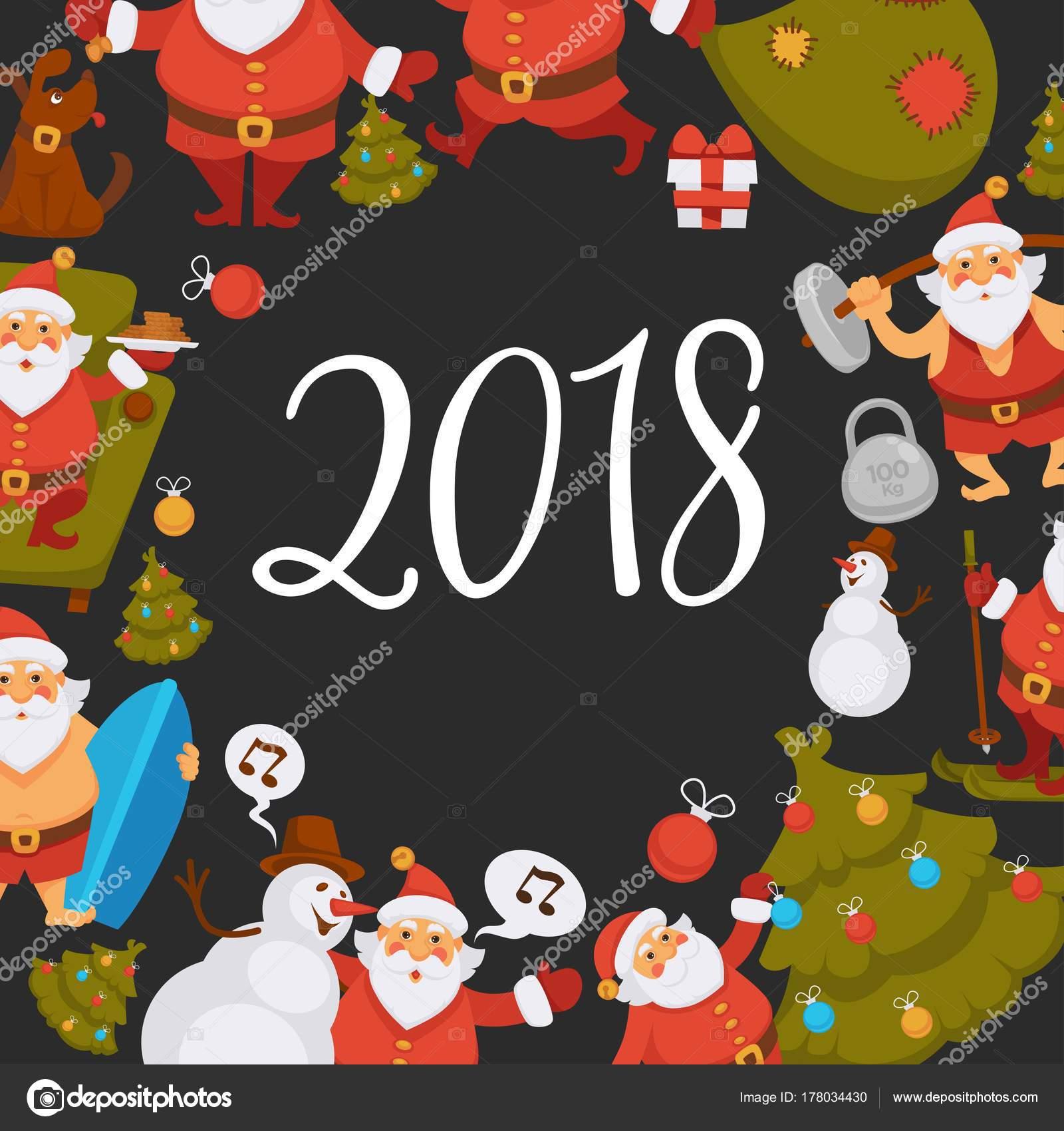 Stastny Novy Rok Kreslene Santa Slavi Svatky Nebo Maji Rekreacni