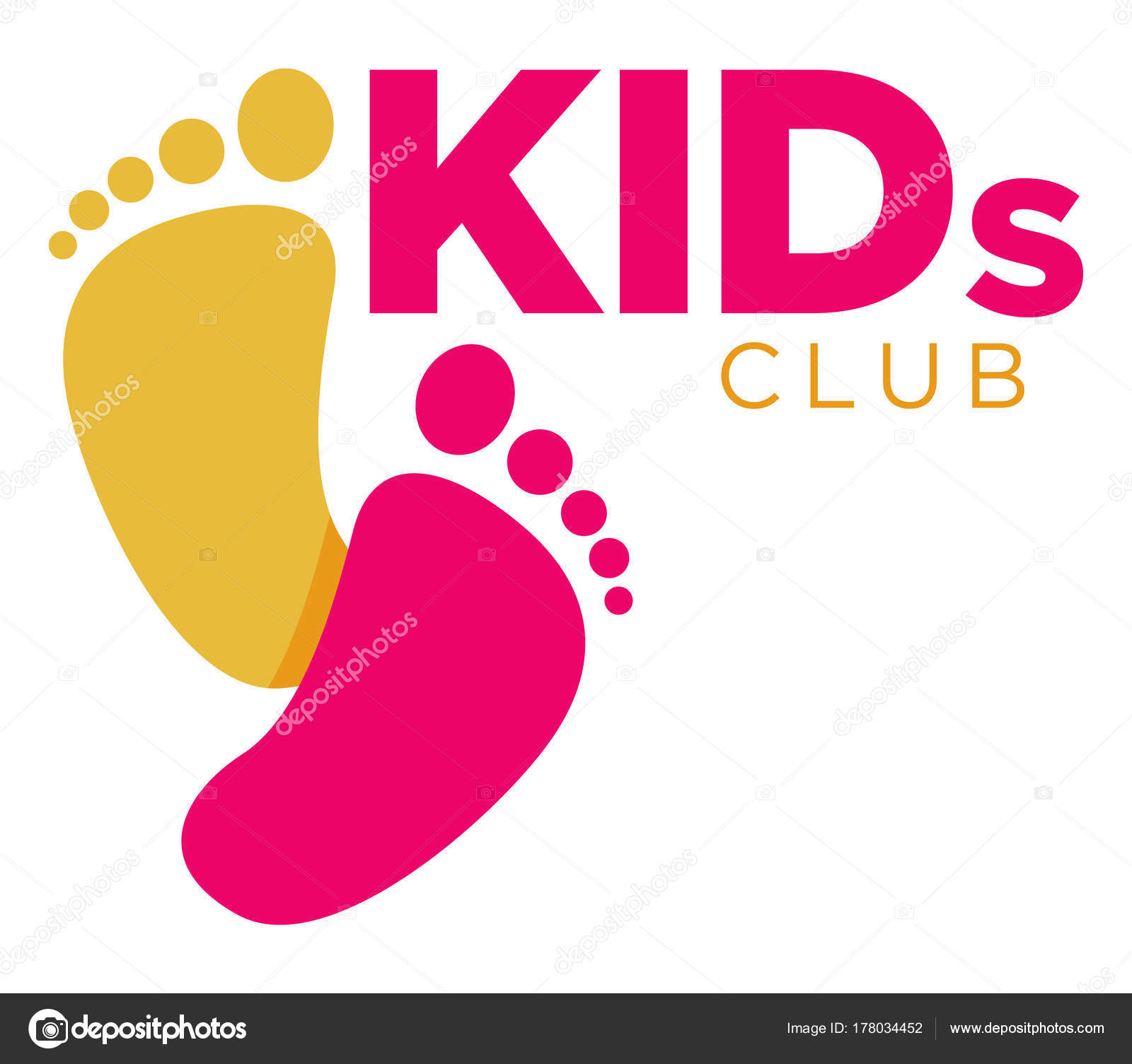 Kids Zone Logo Template Child Palm Hands Speech Bubble Color — Stock ...