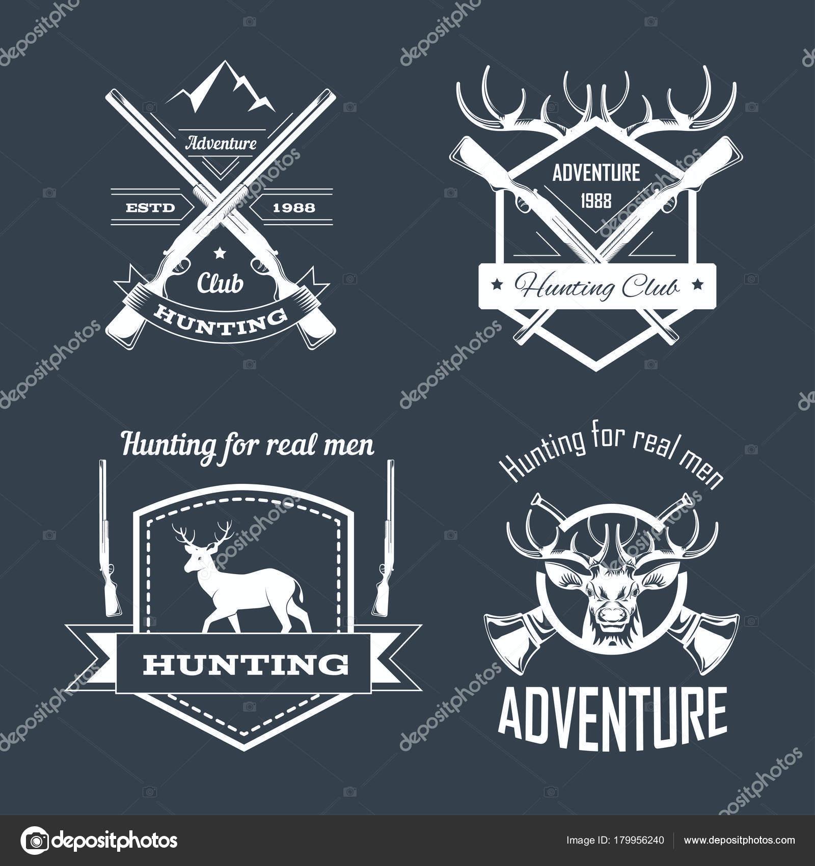 Jagd Club Oder Jagd Abenteuer Logo Vorlagen Eingestellt Isolierte ...