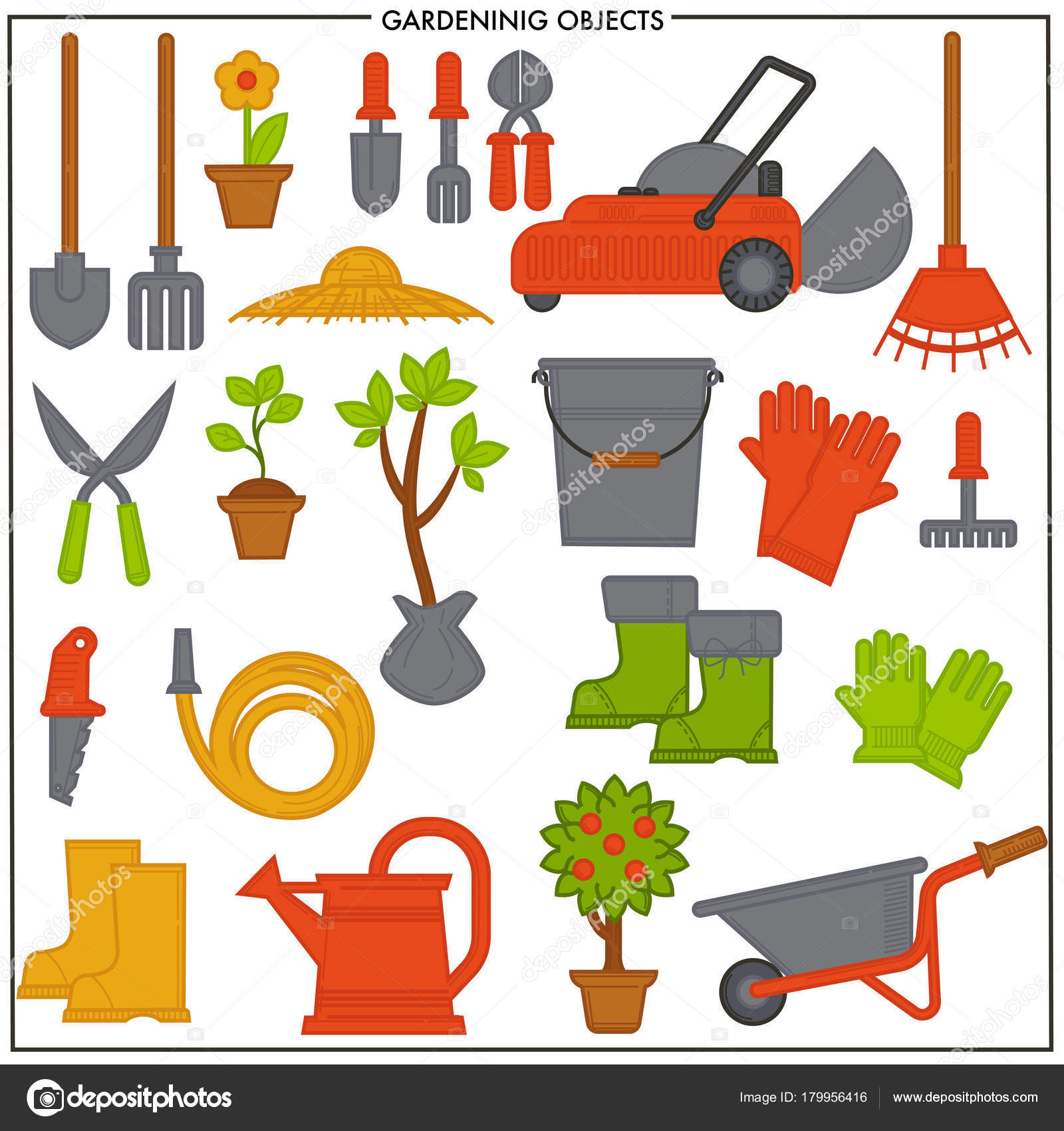 Conjunto objetos jardiner a compuesto por herramientas for Objetos de jardineria