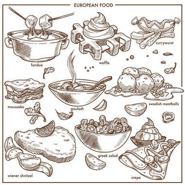 European cuisine food dishes