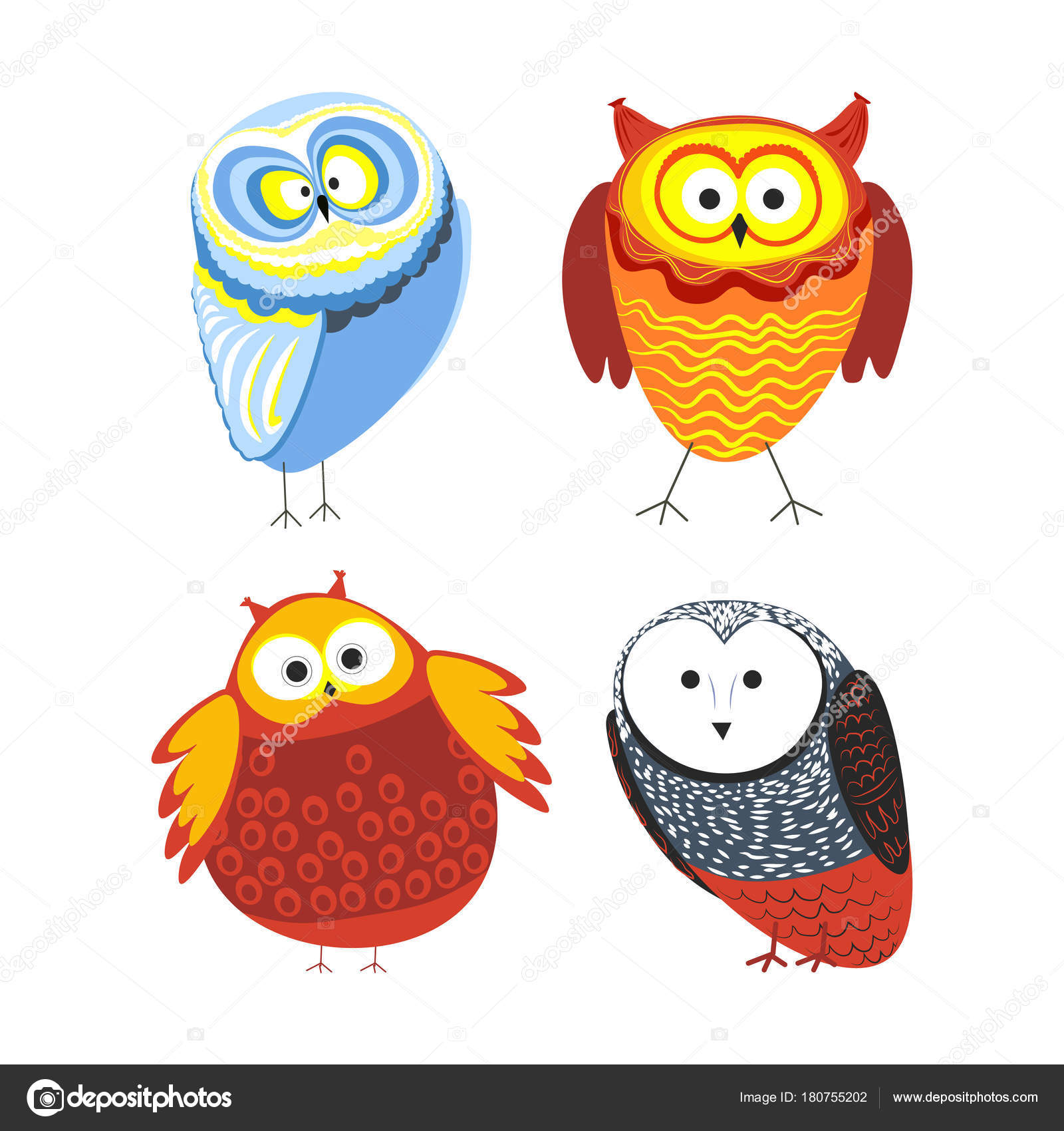 Owls Cartoon Kid Funny Characters Feather Ornament Vector Isolated Flat Stock Vector C Sonulkaster 180755202