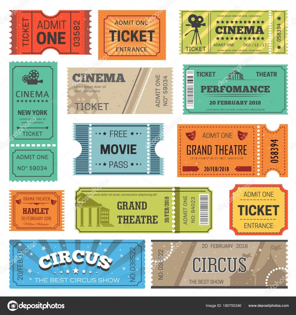 Tickets Diseño Plantillas Para Cine Teatro Cine Circo Espectáculo ...