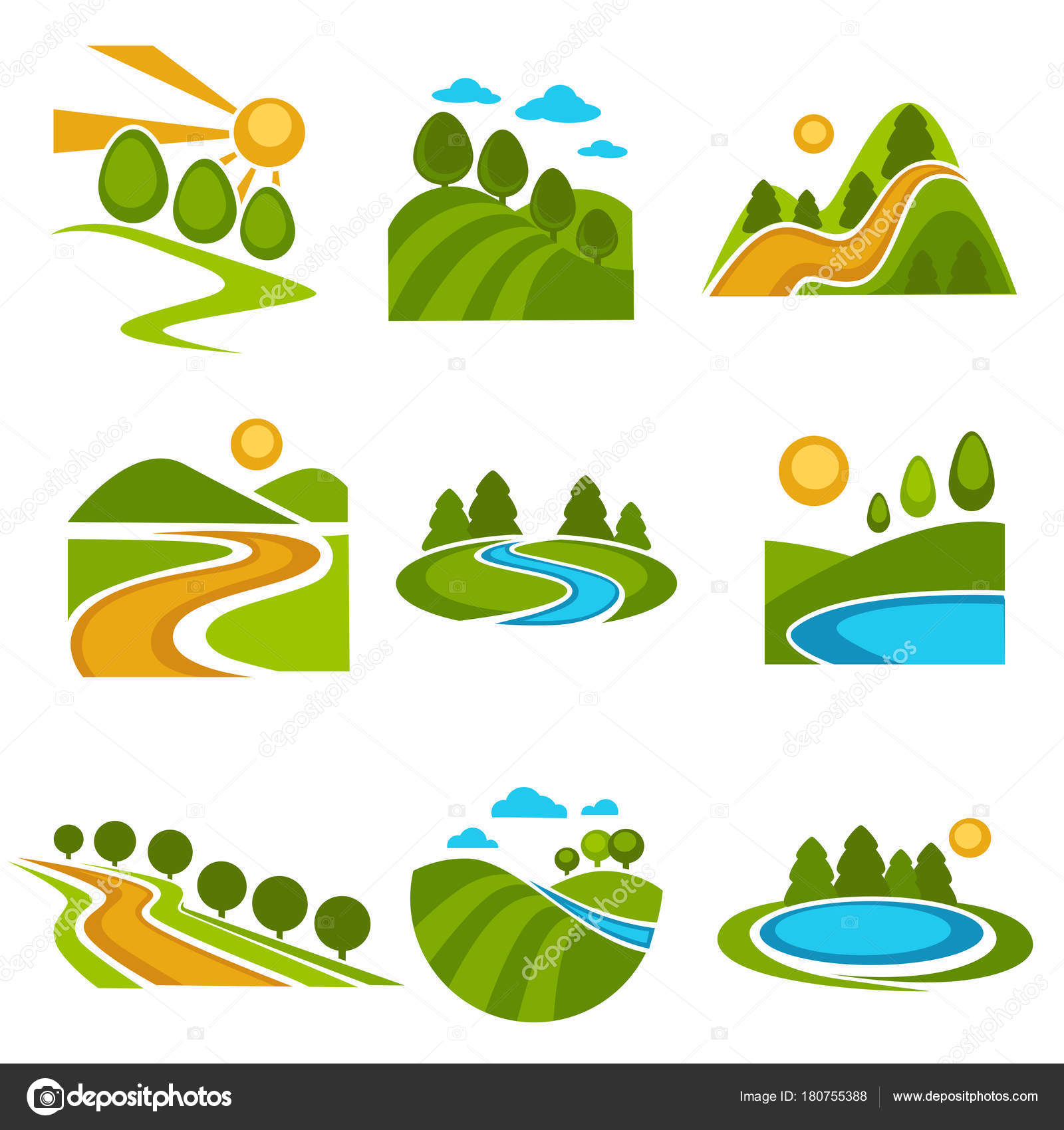 nature landscape logo templates green ecology environment