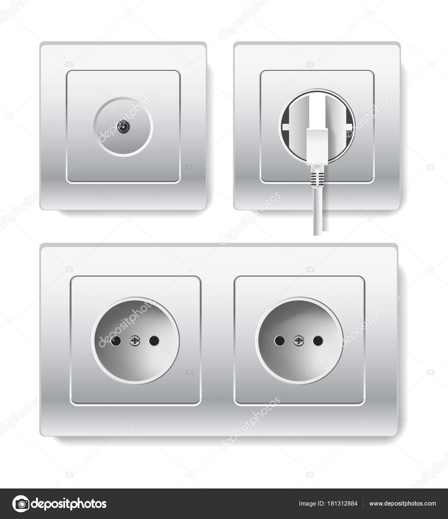 Sockets Types Electric Outlets Plug Vector Isolated Realistic Socket ...
