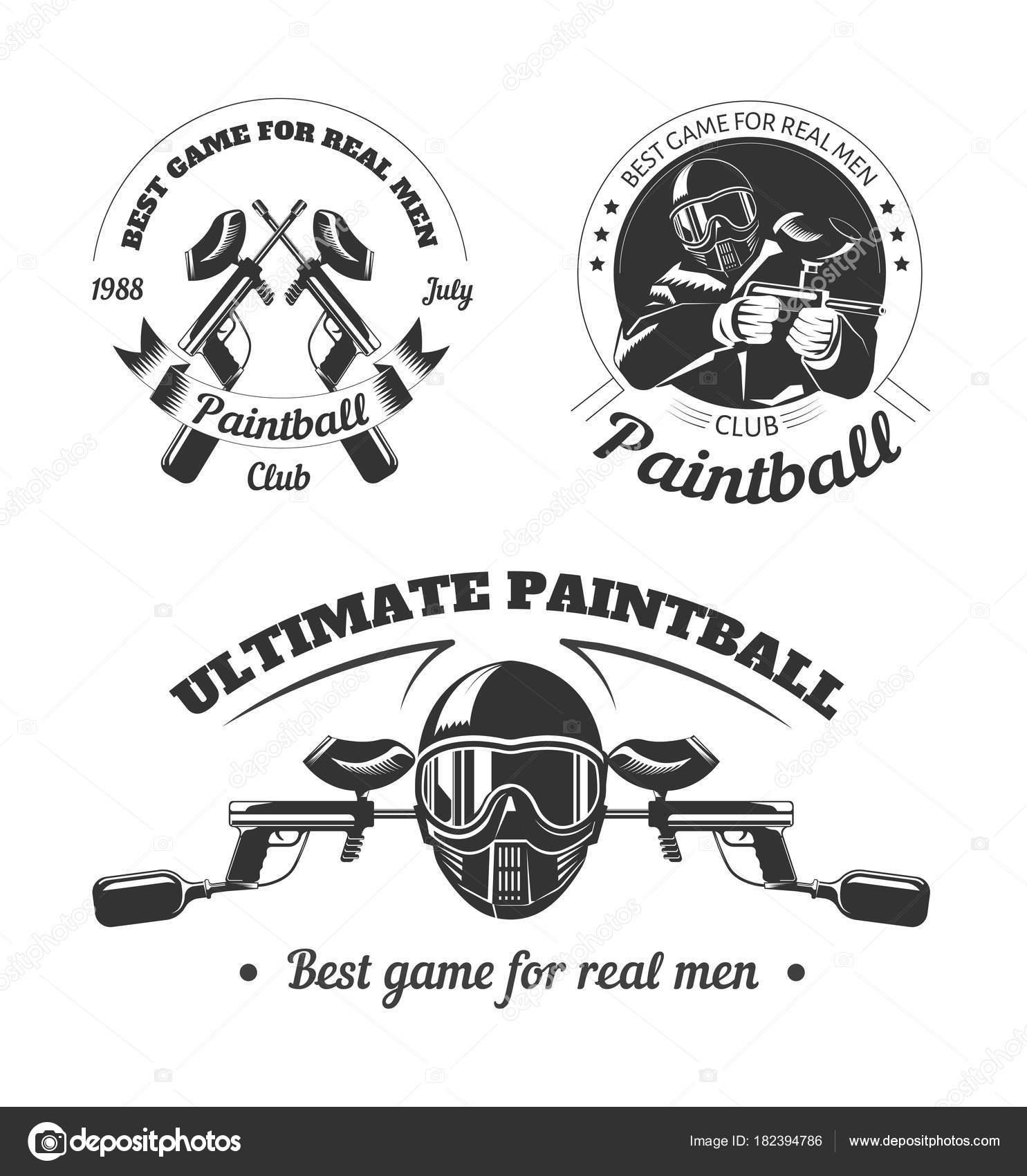 Plantillas Logotipo Club Paintball Deporte Juego Jugador Que Tira ...