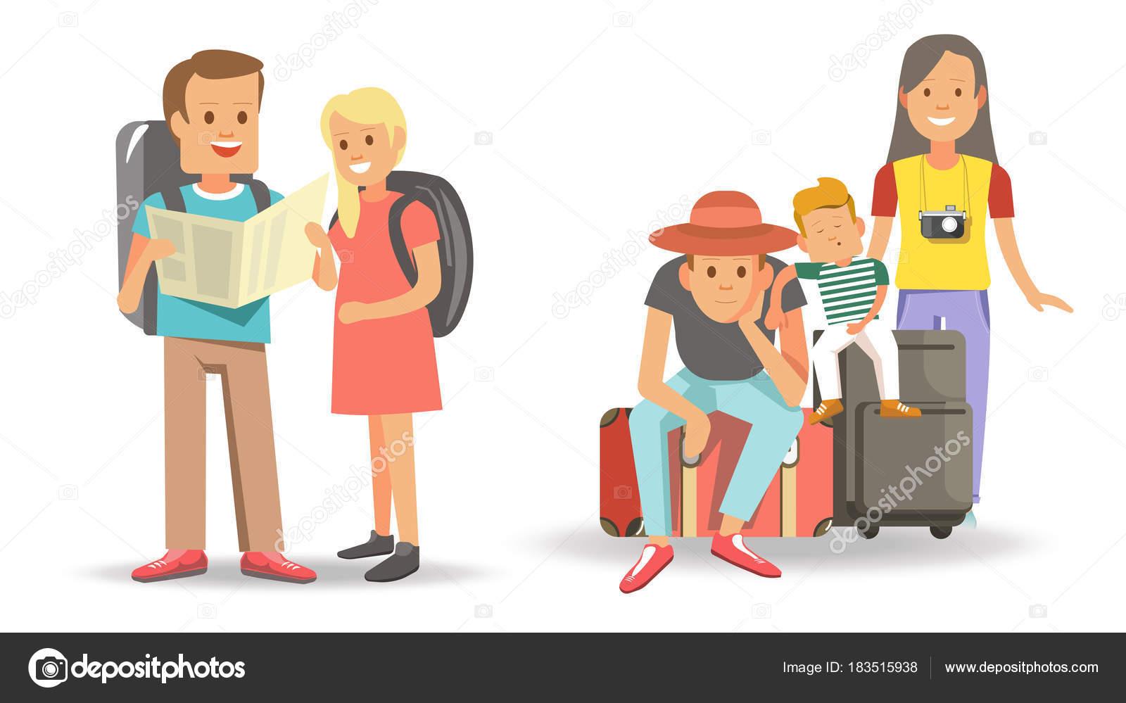 Vector Feliz Viaje Familia: Dos Familias Dibujos Animados Viajes Con Niños