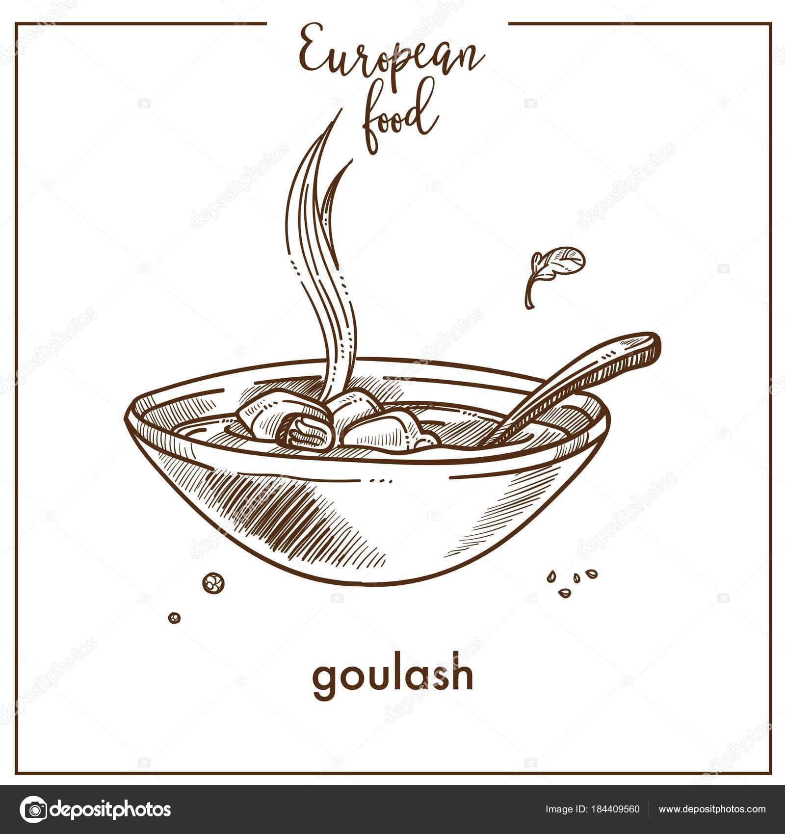 Zupa Gulaszowa Szkic Ikona Dla Europejskich Jedzenie Kuchnia Menu