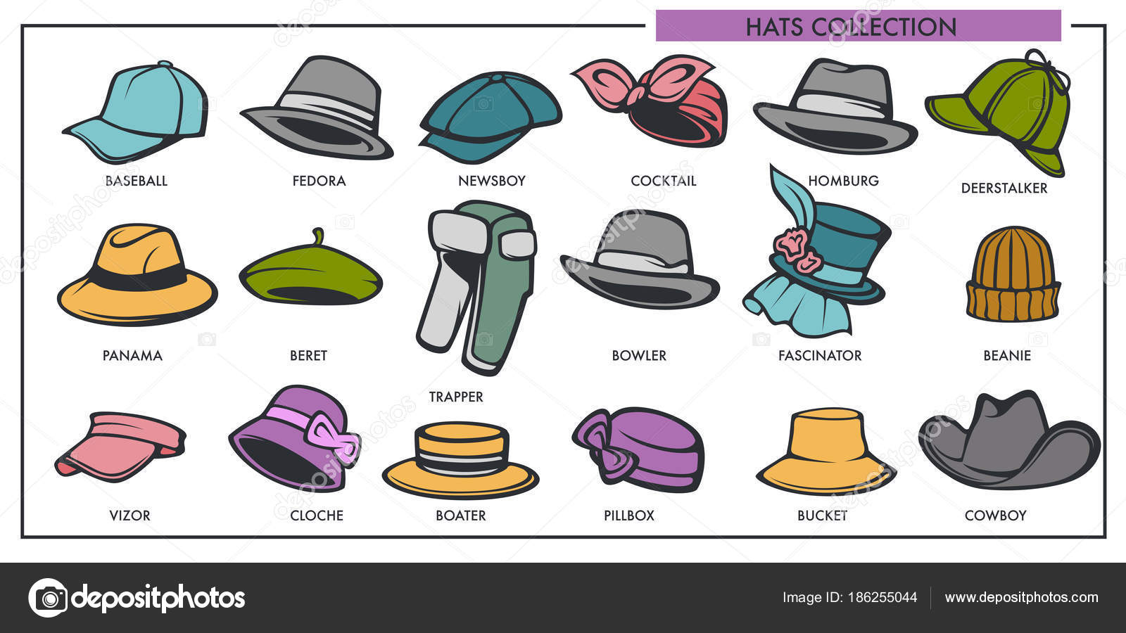 Colección Modelos Sombreros Hombre Mujer Moda Retro Moderno Tipo ...