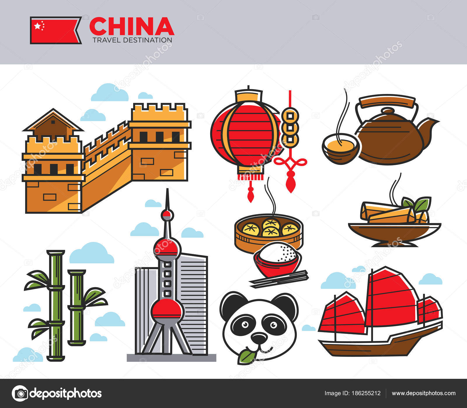 China Travel Landmarks Chinese Culture Famous Symbols Stock Vector