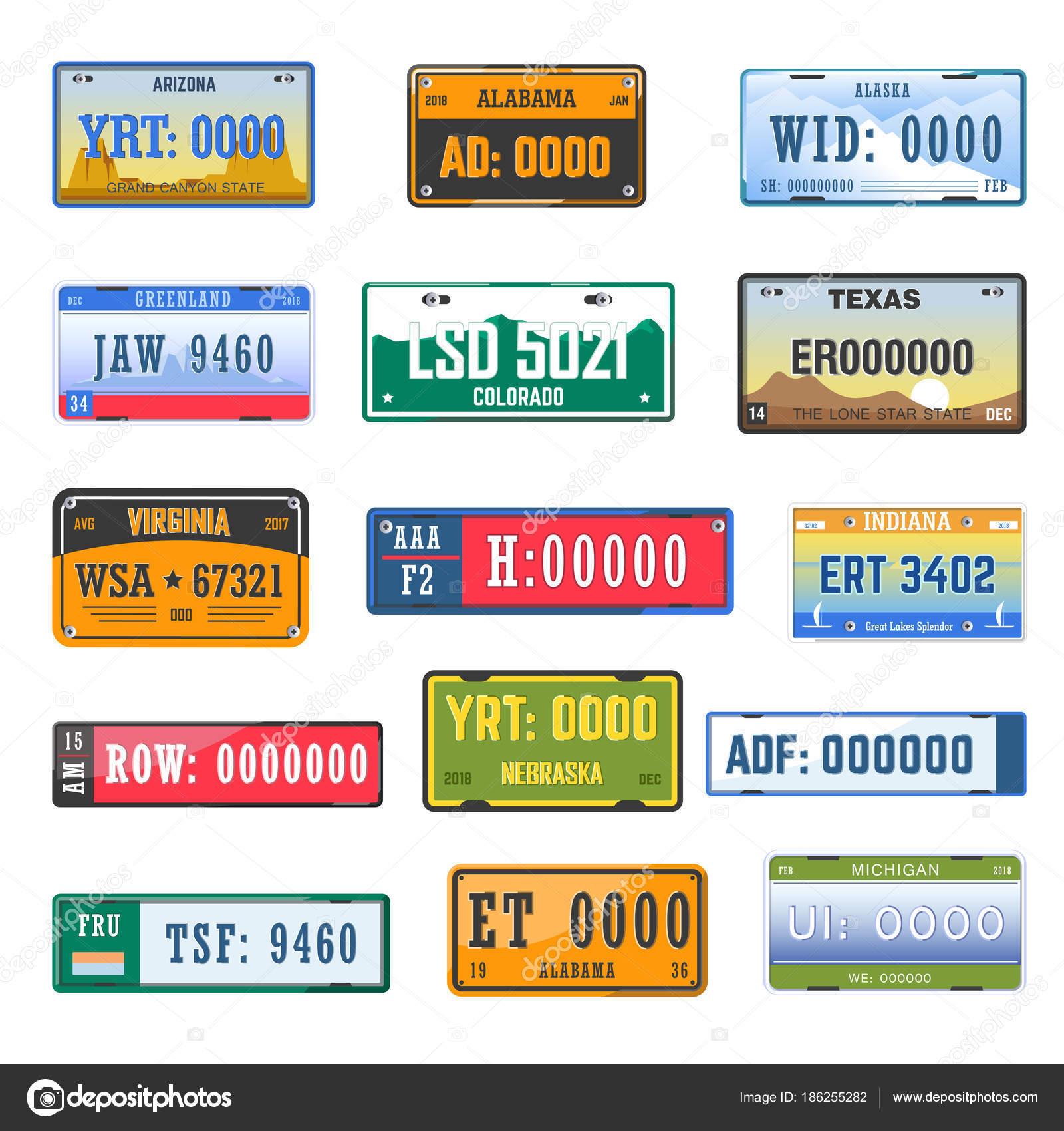 Colección Placas Número Registro Vehículo Otro País — Vector de ...