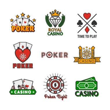 Casino poker game logo templates for online internet gamboling bets design