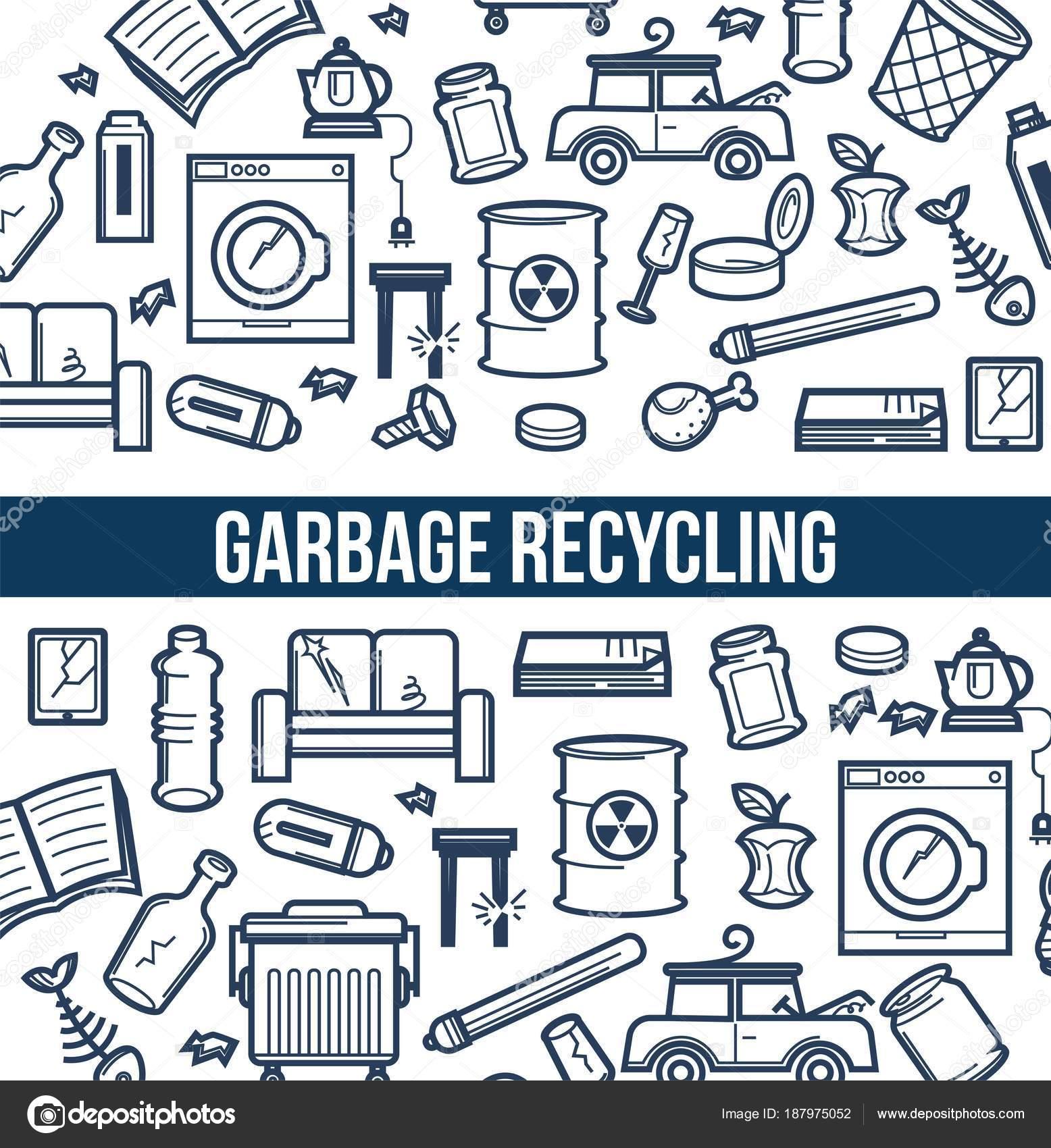 Müll Recycling Werbeplakat Mit Minimalistischen Skizzen Beschädigte