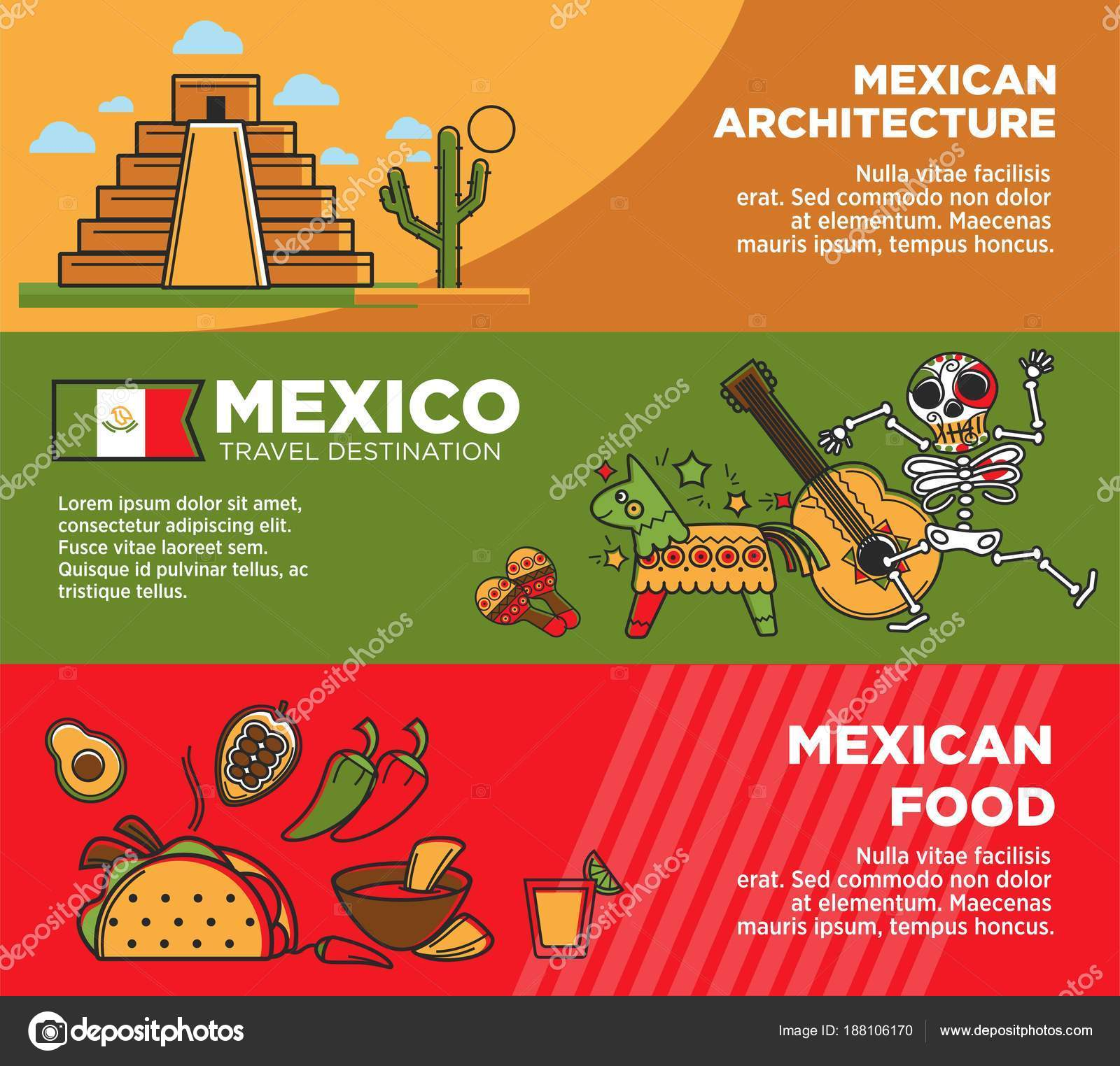 Mexican Architecture And Food On Promotional Posters Set Historical Heritage Hot Exotic Spicy National Symbols Travel Agency Commercial