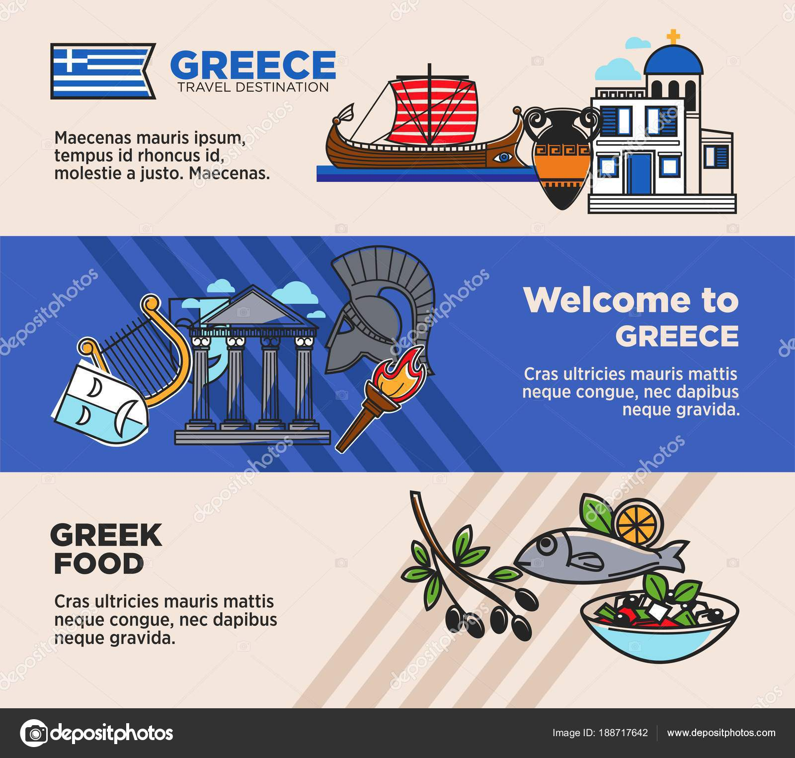 Welcome greece promotional travel agency banners set historical welcome greece promotional travel agency banners set historical national symbols stock vector ccuart Choice Image