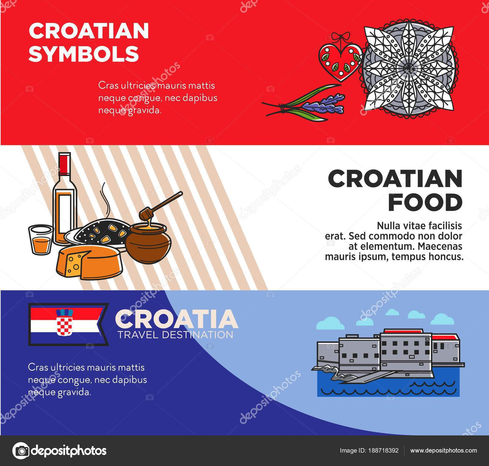Croatian Symbols And Food Promotional Travel Agency Posters Set Unusual Journey To Authentic Country Advertisement Old Architecture Tasty On