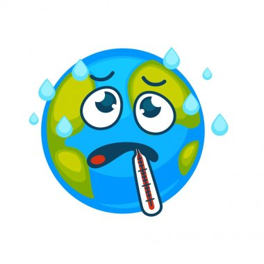 Ill Earth with thermometer in mouth and sweat drops above. Strong evaporation and sick planet with frustrated face. Globe and precipitations isolated cartoon vector illustration on white background. clip art vector