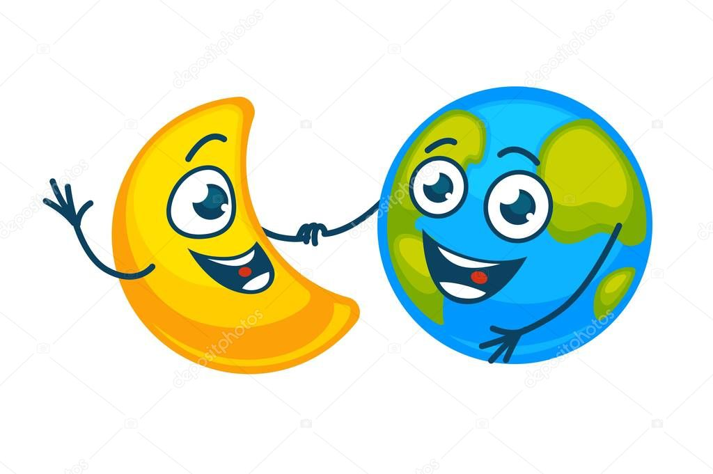 Earth and golden moon with happy faces hold hands. Planet in cheerful mood and shiny crescent with broad sincere smile dance together isolated cartoon flat vector illustration on white background.