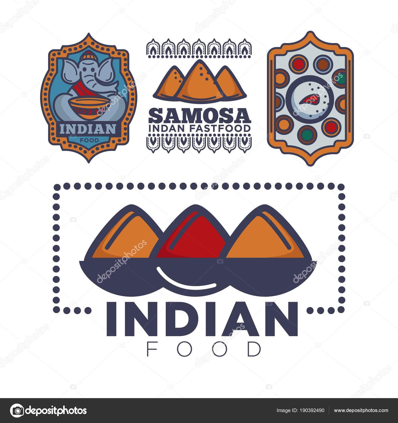 Indisches Essen Paket Oder Café Und Küche Restaurant Logo Vorlage ...