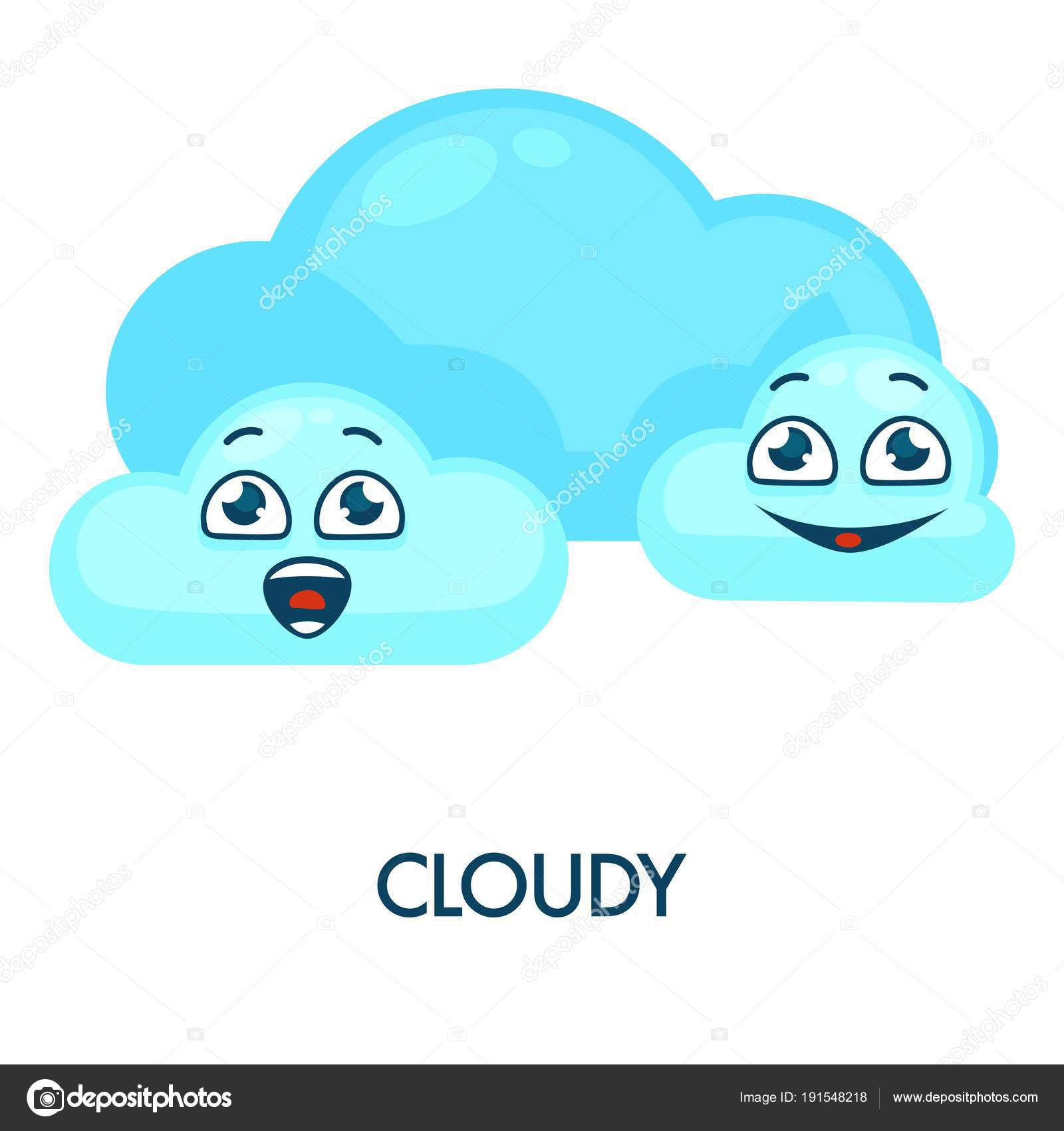 Cloudy Weather Symbol Blue Soft Happy Clouds Have Faces
