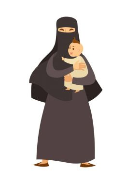 Arab woman in traditional clothes with little baby in crawlers. Muslim female character in black hijab with newborn son in her arms isolated cartoon flat vector illustration on white background. clip art vector