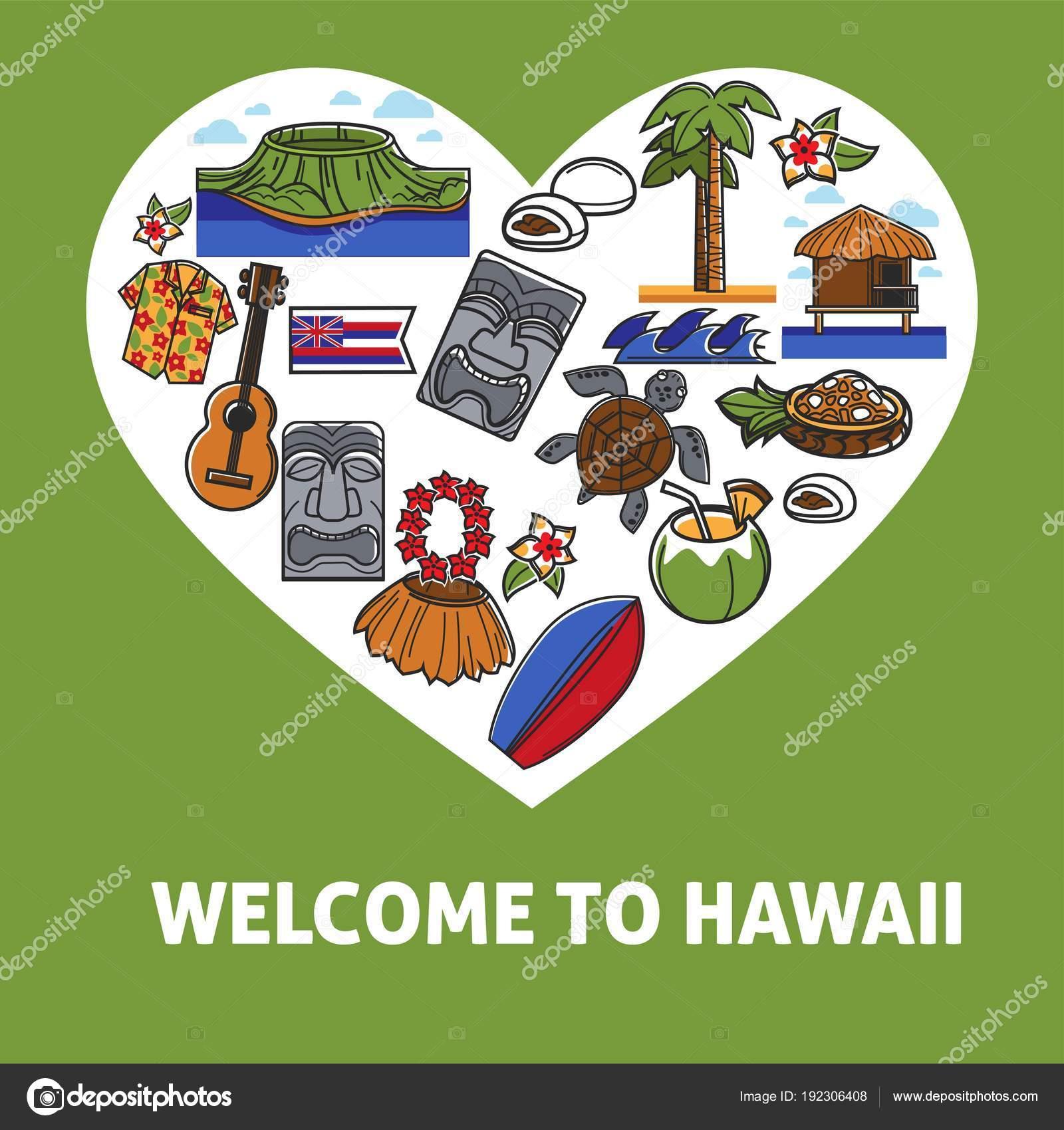 c107b692dda Bem-vindo ao banner de promo Havaí com símbolos nacionais. Natureza  selvagem