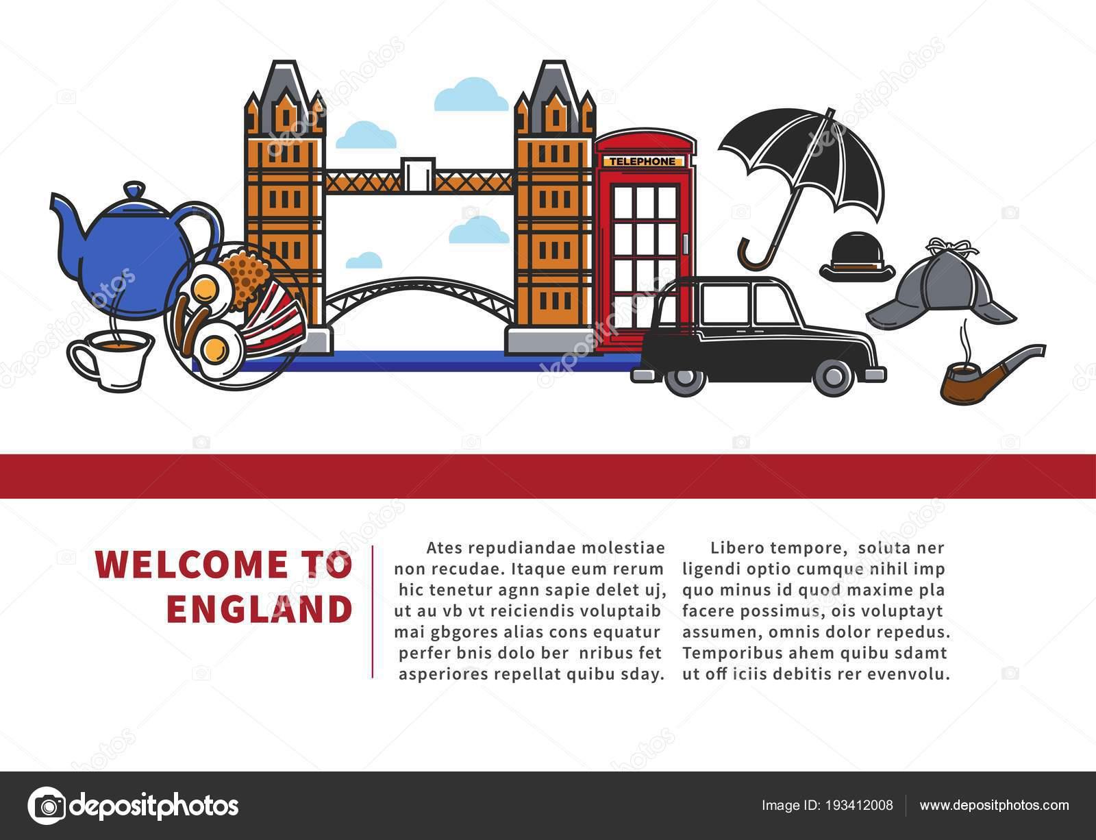 2f08f6c0f4b Bem-vindo ao banner promocional de Inglaterra com texto de amostra e de  símbolos nacionais. Ponte grande