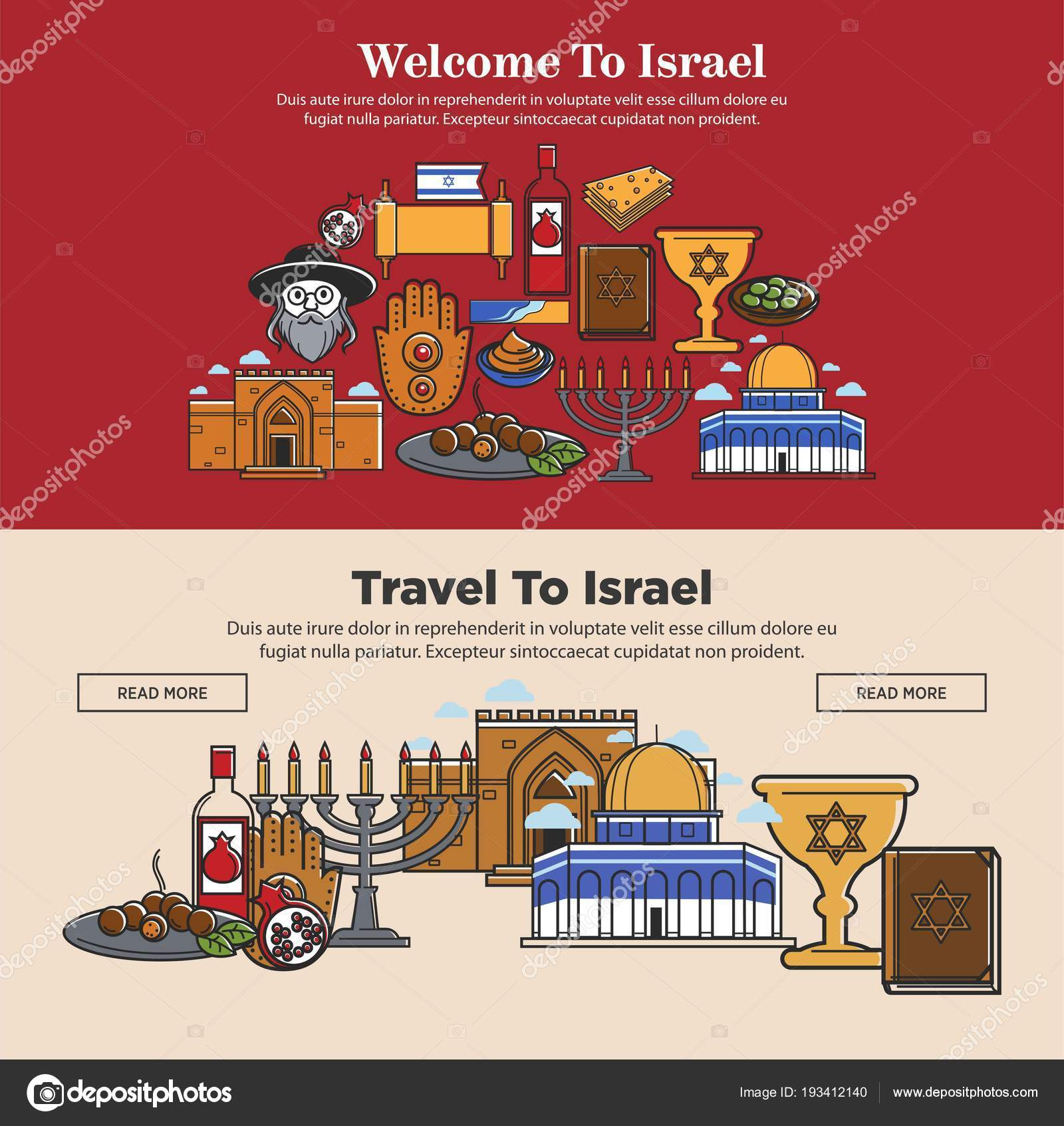 Welcome Israel Promo Banners Set National Symbols Religion