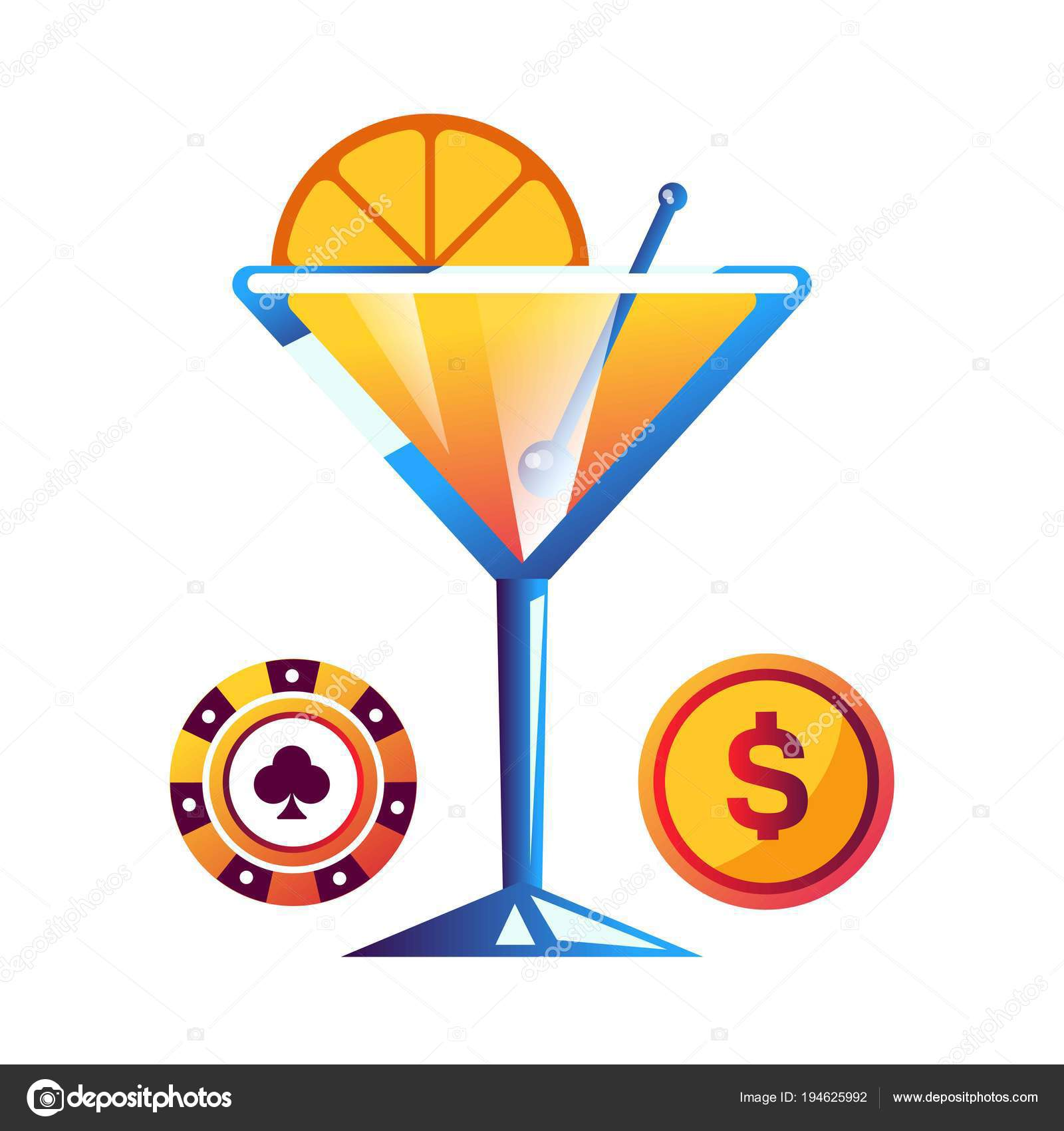 Cocktail Mit Orange Kunststoff Poker Chip Und Gold Münze Leckere ...