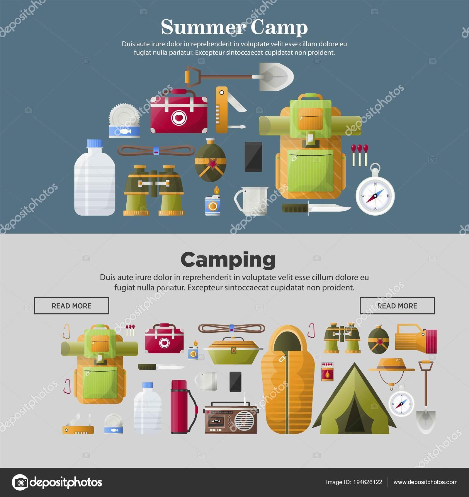 Web Del Campamento Verano Banners Plantillas Para Camping Aventura ...